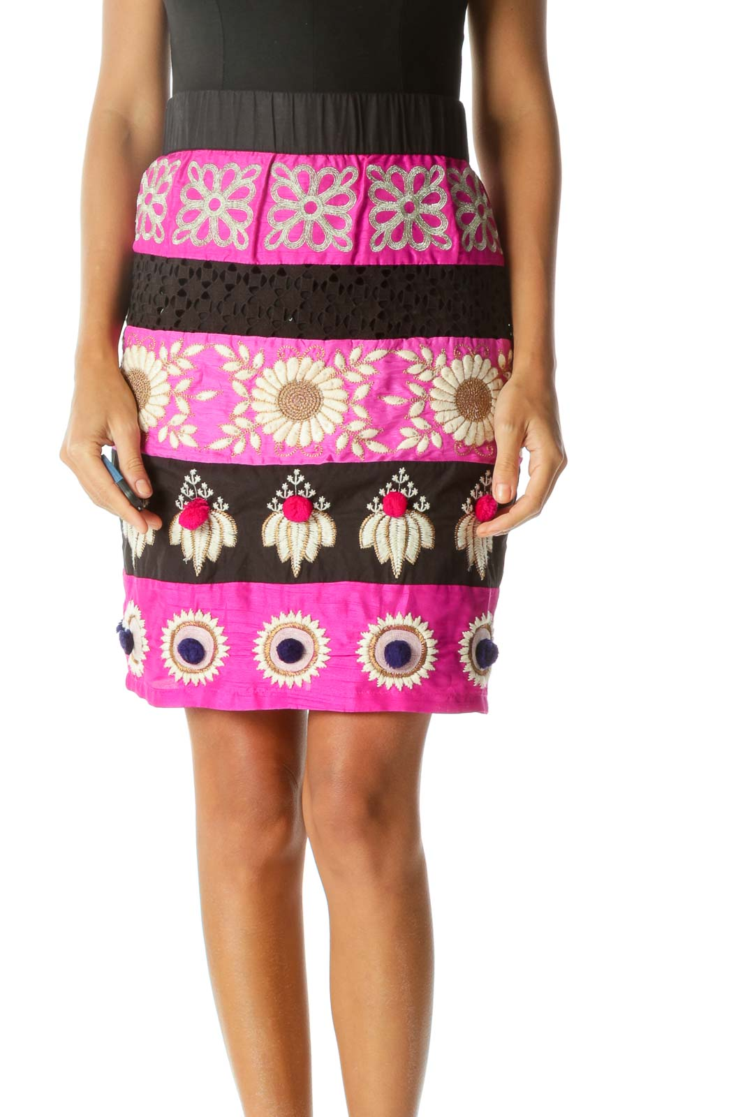 Black Pink Cream Gold Embroidery Appliques Elastic Waist Skirt Front