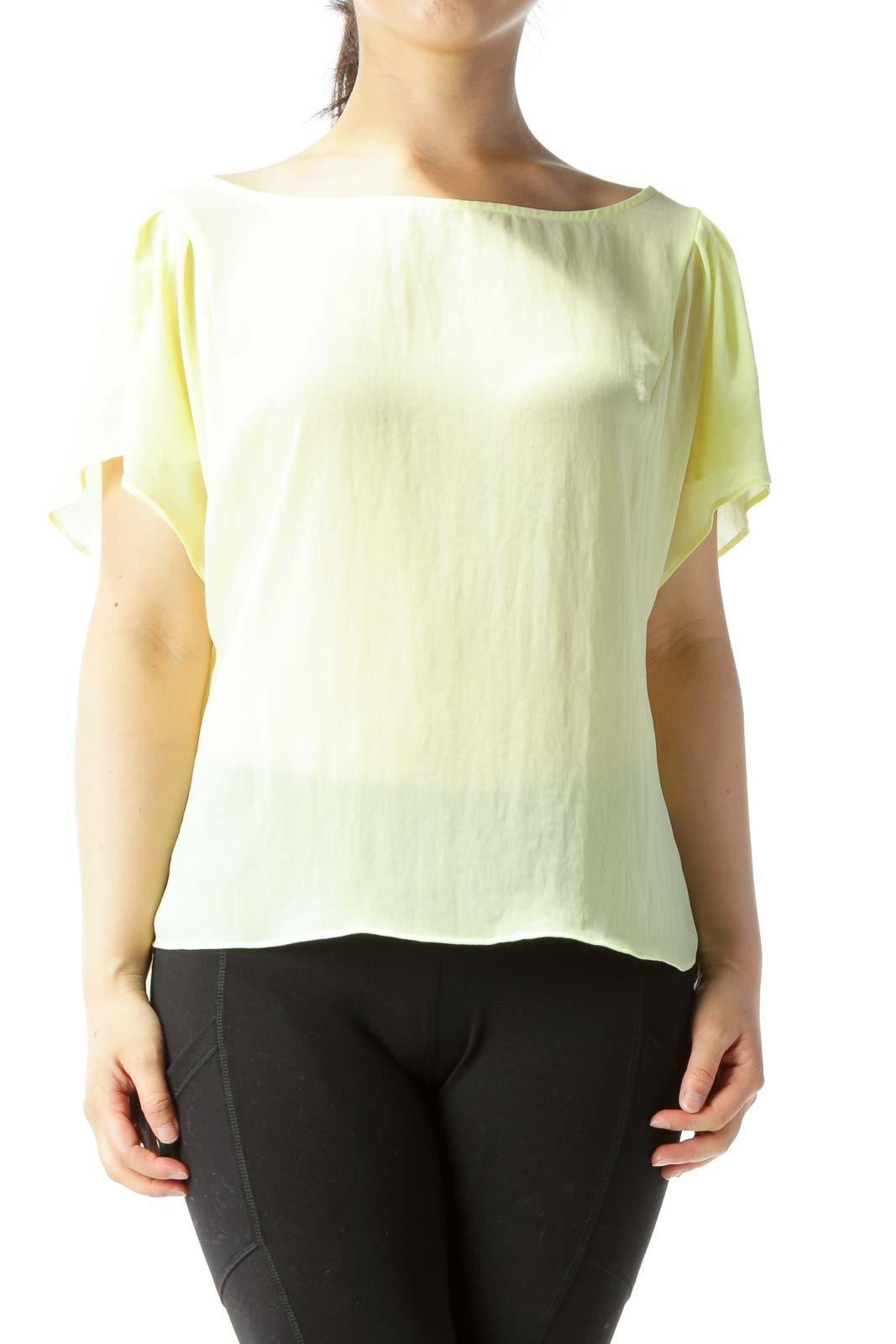 Yellow Translucent Bat-Sleeve Over-Sized Blouse Front
