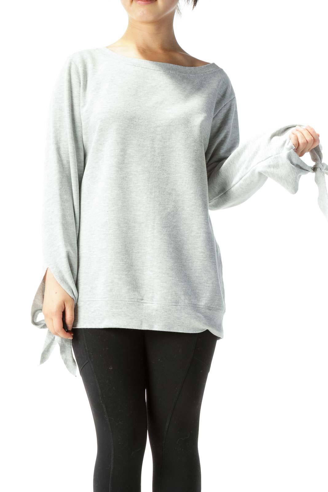 Heather Gray Long-Sleeve Sweatshirt w/ Ties on Wrists Front