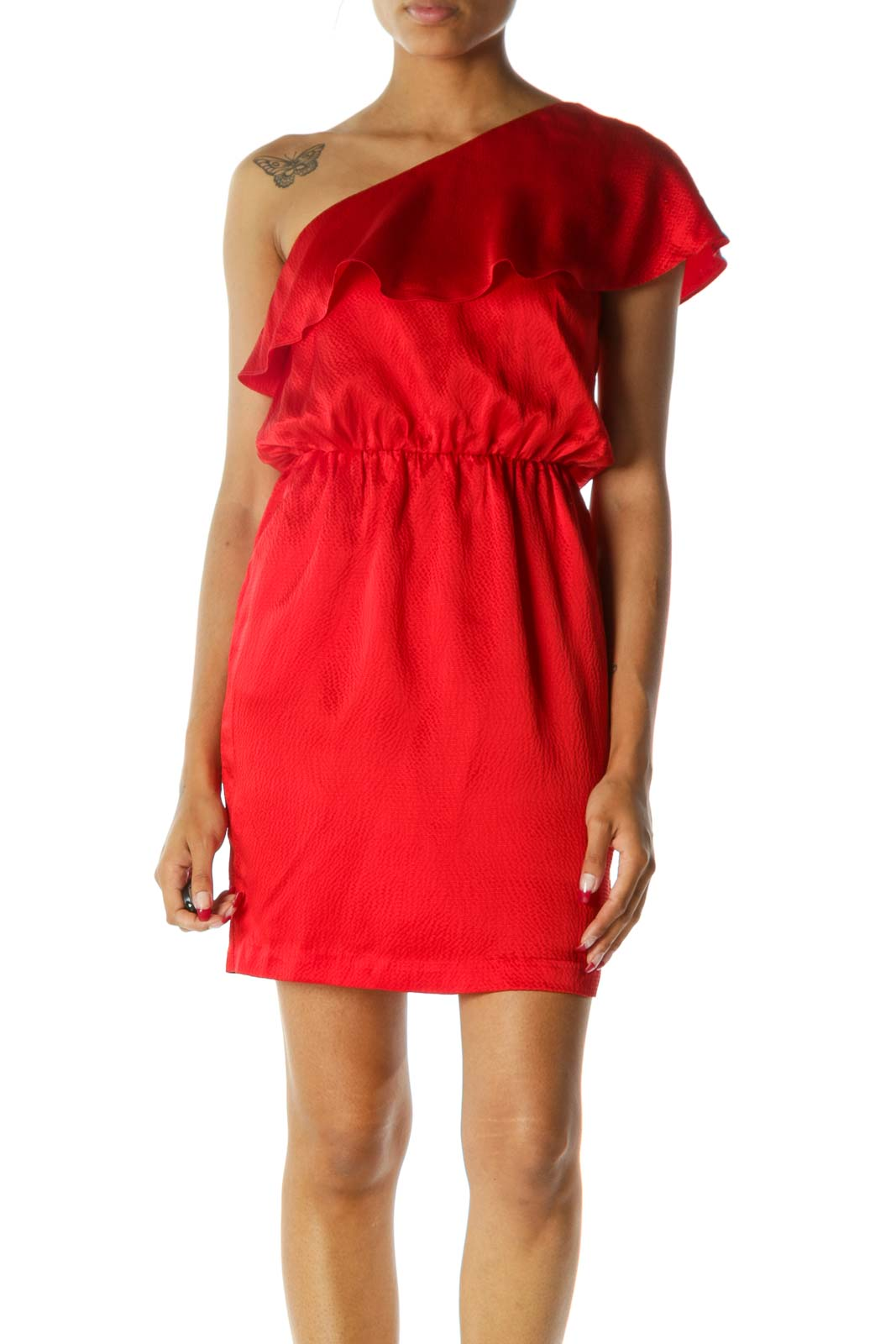 Red One-Shoulder Flared Pocketed 100% Silk Dress Front