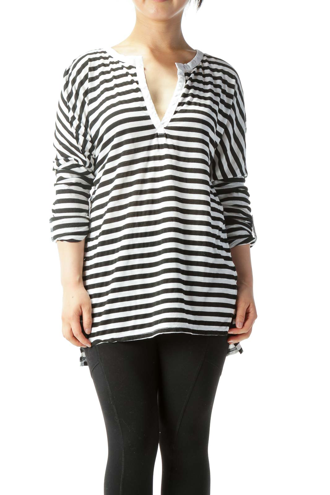 White & Black Striped Long-Sleeve Rolled-Cuff Knit Top Front