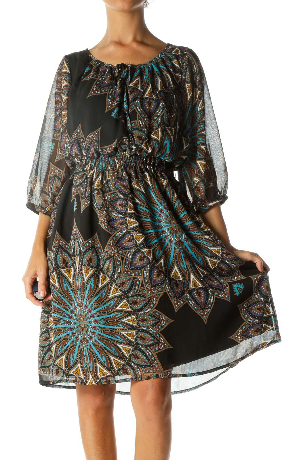 Multicolored Keyhole 3/4 Sleeve Elastic Waist Dress Front