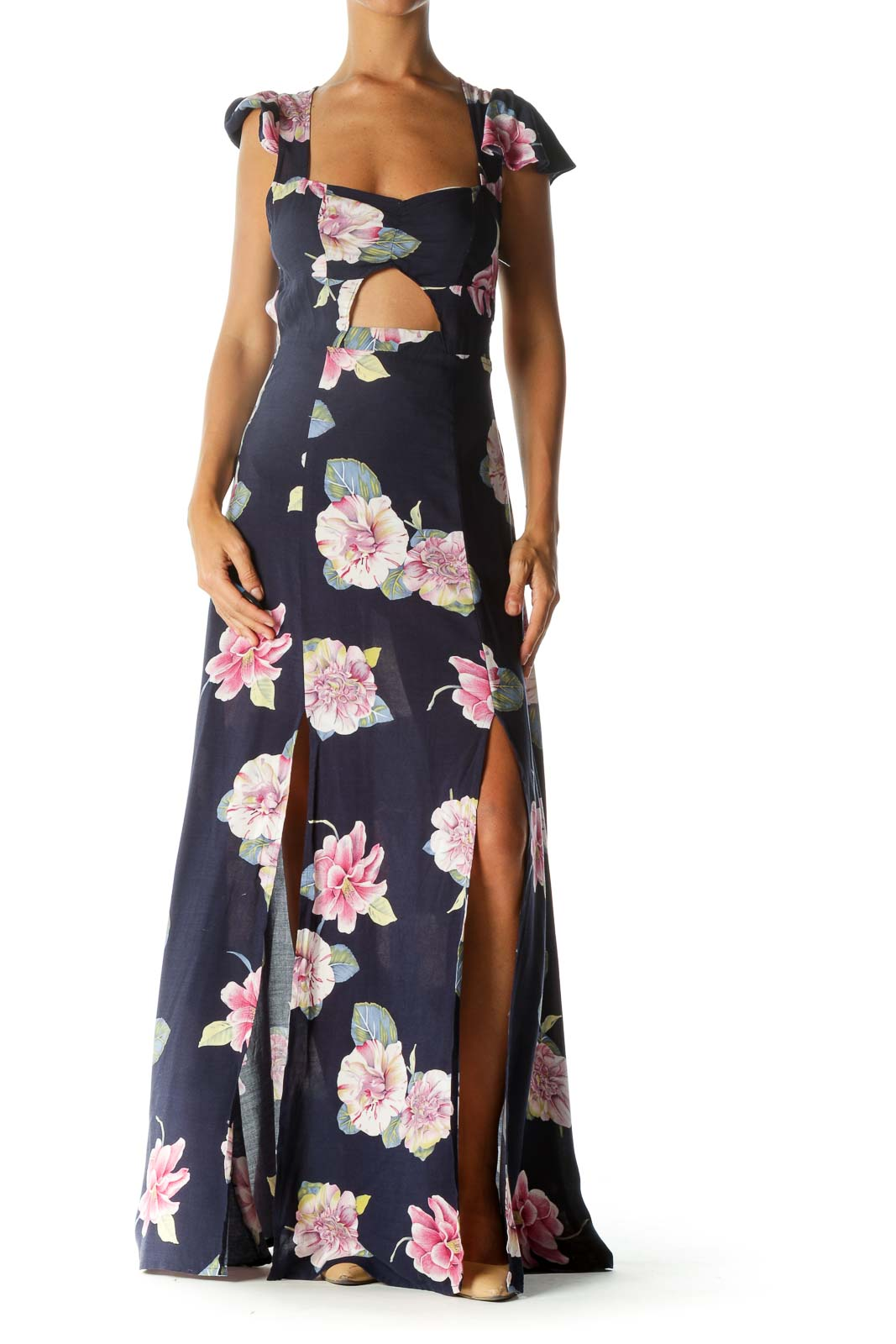 Navy Blue Pink Yellow White Floral Print Cut-Out Leg-Opening Day Dress Front