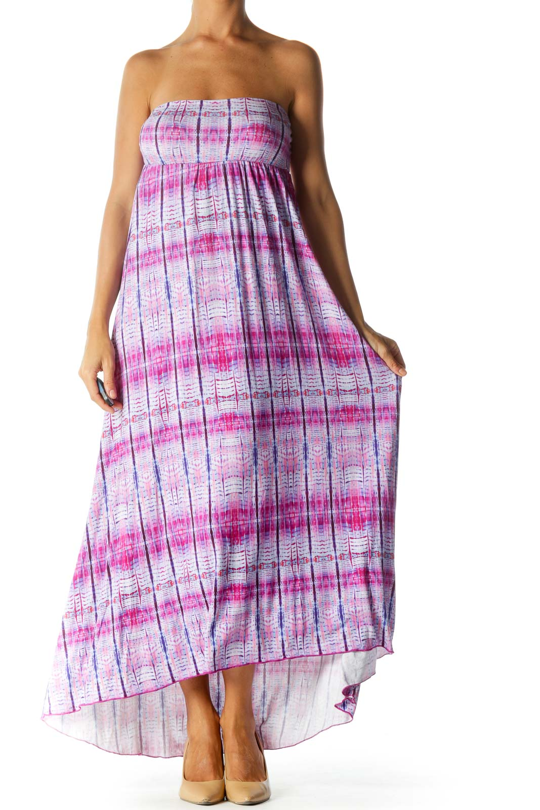 Purple Blue Print Strapless Empire Stretch Maxi Dress Front
