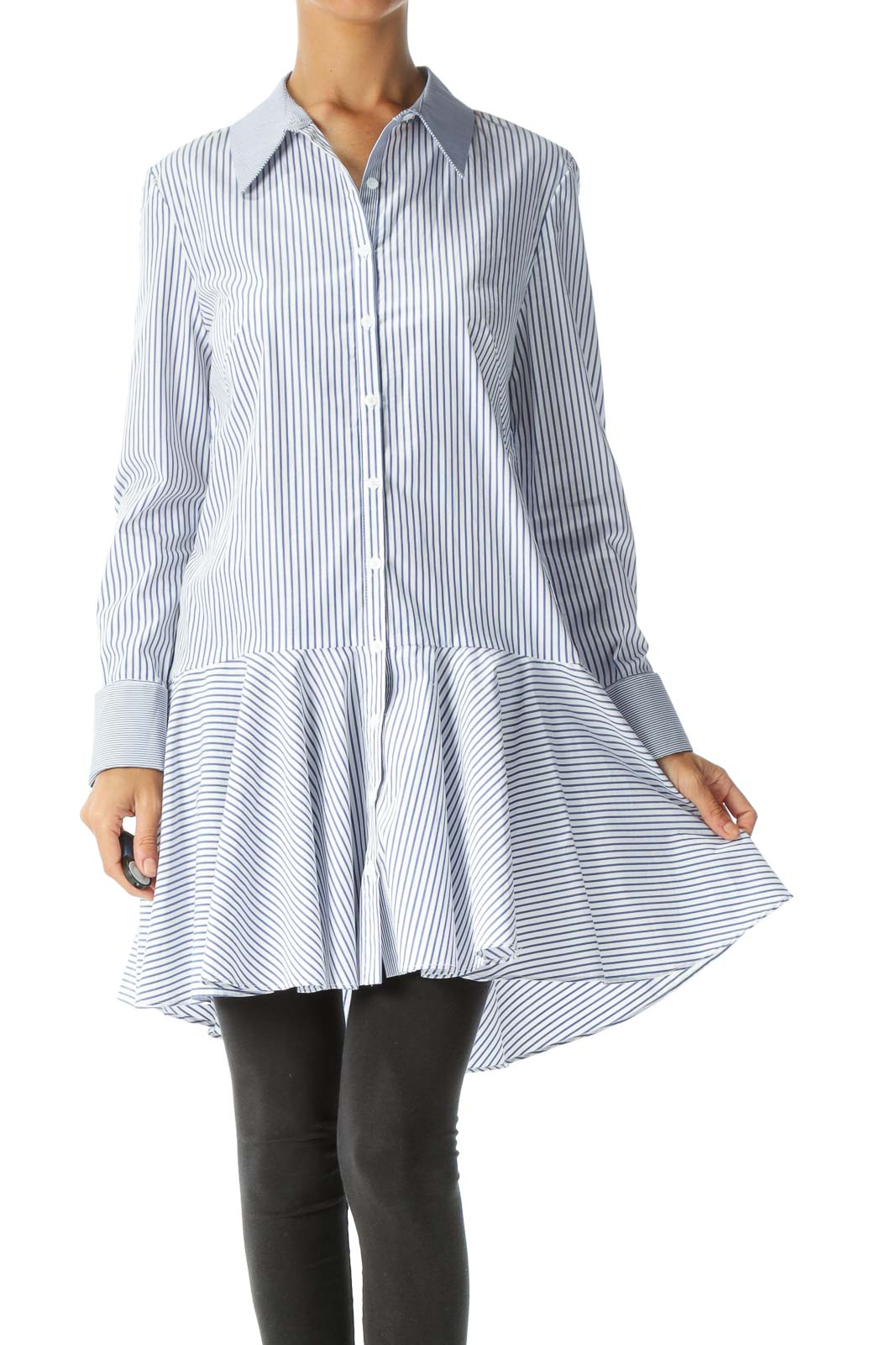 Blue White Striped Long Sleeve Flared Detail Shirt Front