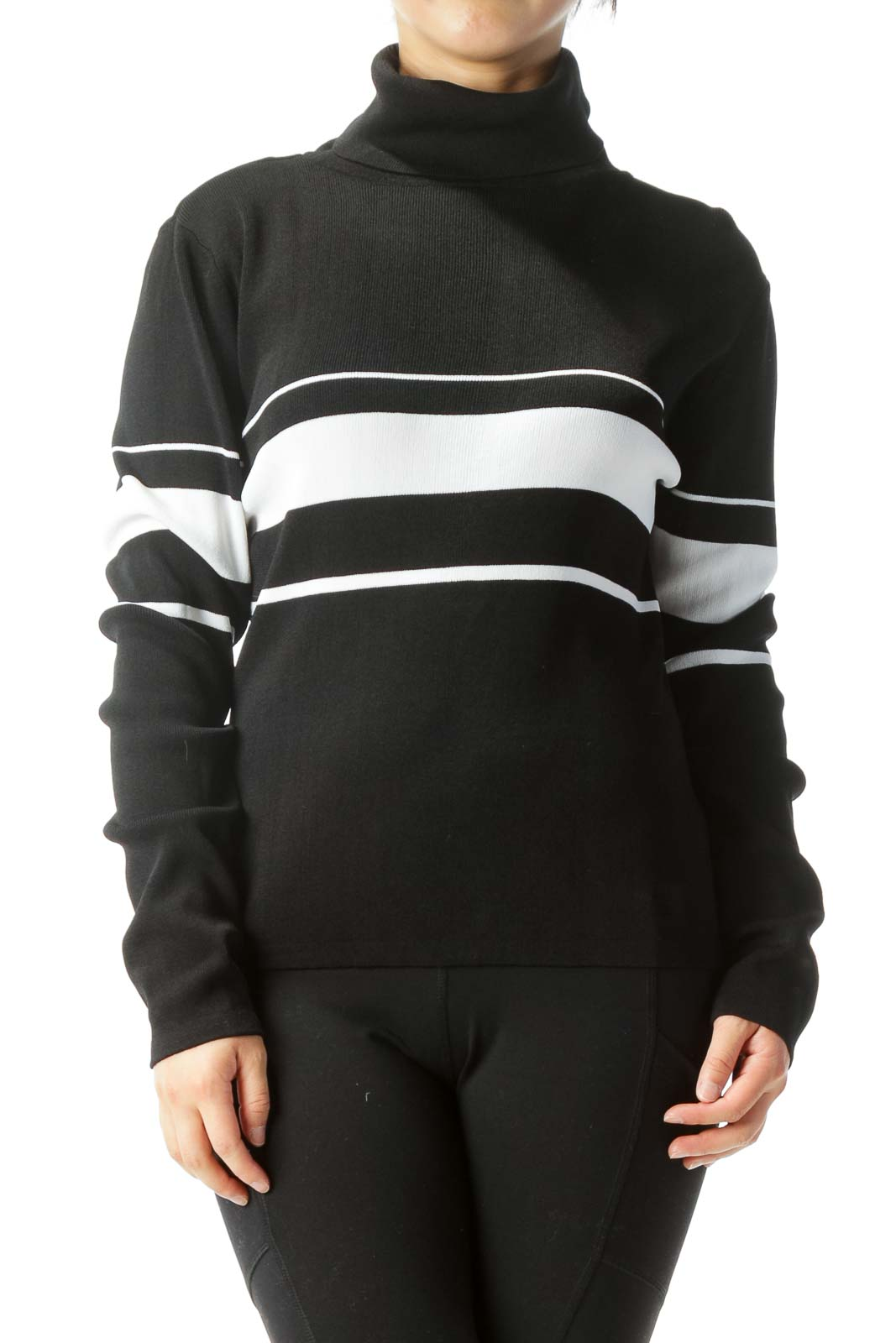Black & White Horizontal-Striped Long-Sleeve Turtle-Neck Sweater Front