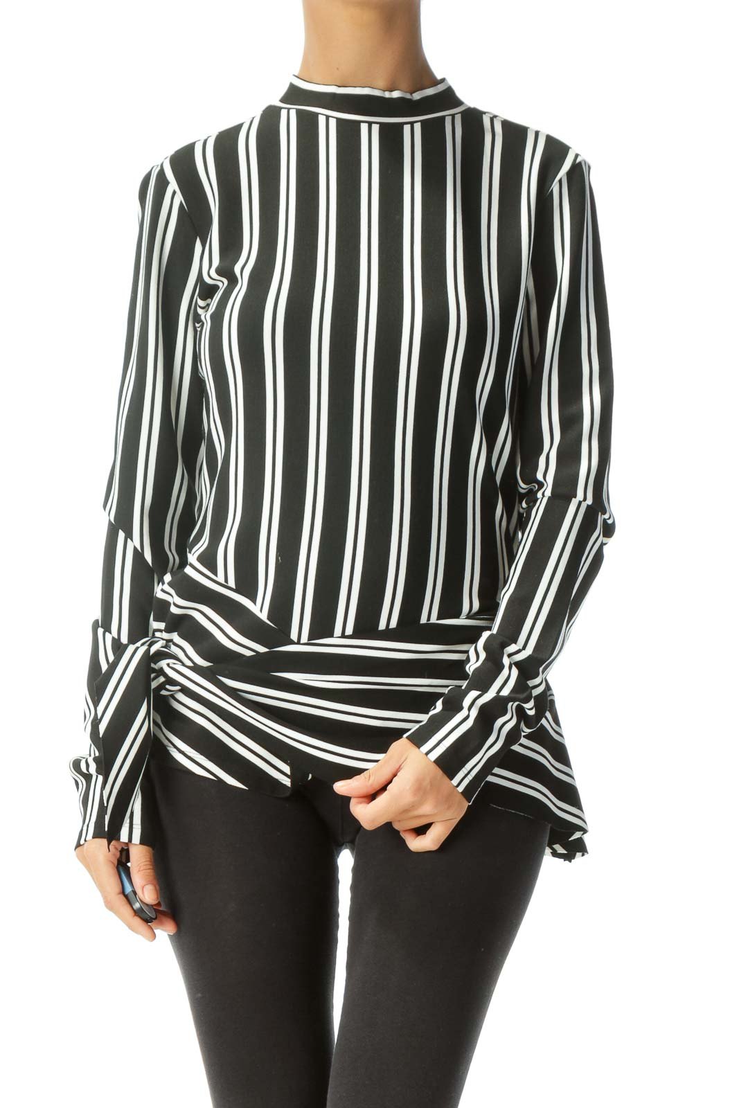 Black White Striped Asymmetric Long Sleeve Knit Top Front
