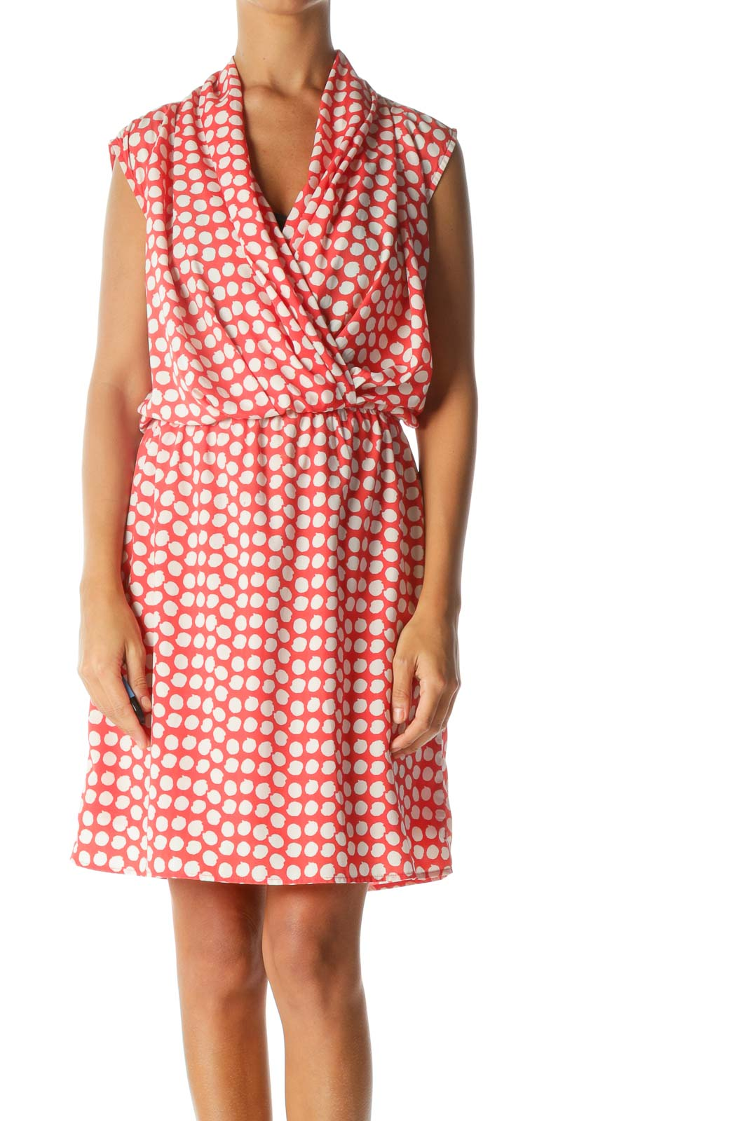 Red White Print Sleeveless Surplice Elastic Waist Day Dress Front
