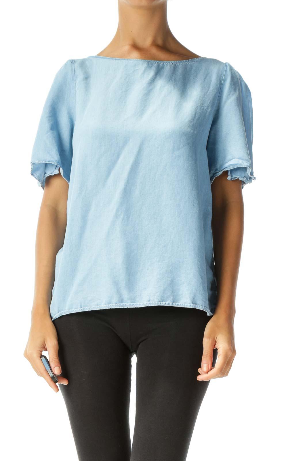 Blue Mock-Denim Slitted-Sleeves Back-Tie Blouse Front