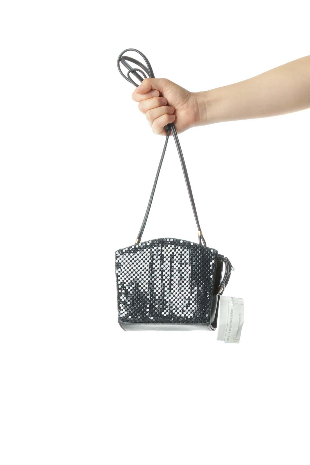 Blue Metallic Textured Net Possible Hidden Strap Shoulder Bag Front