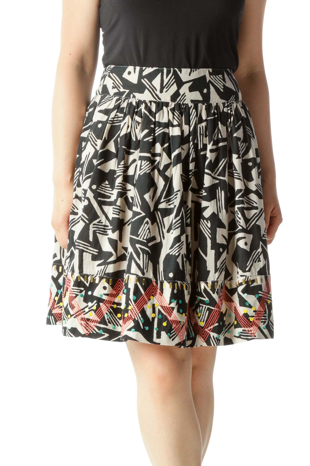 Black & Beige Abstract Print Flared Skirt with Beaded & Embroidered Hem Front