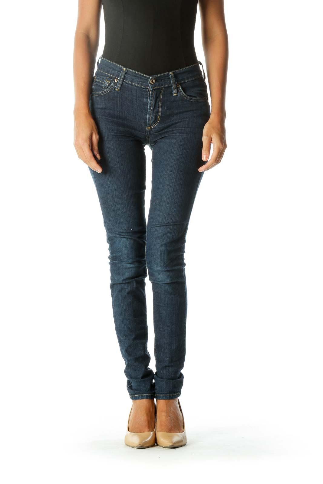 Blue Skinny Medium-Wash Jeans Front