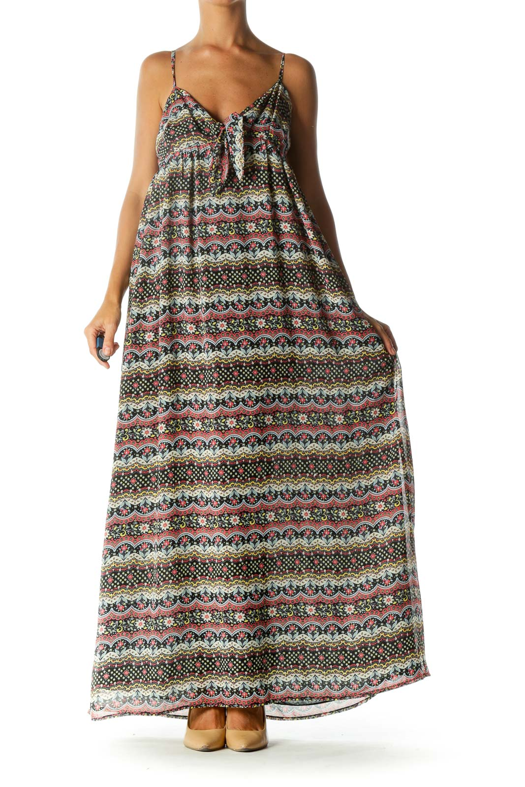 Black Pink Yellow Flower Print Cut Out Knot Spaghetti Strap Maxi Dress Front