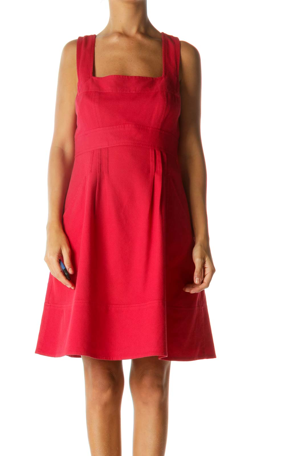 Red Square Neckline Pocketed Textured Day Dress Front