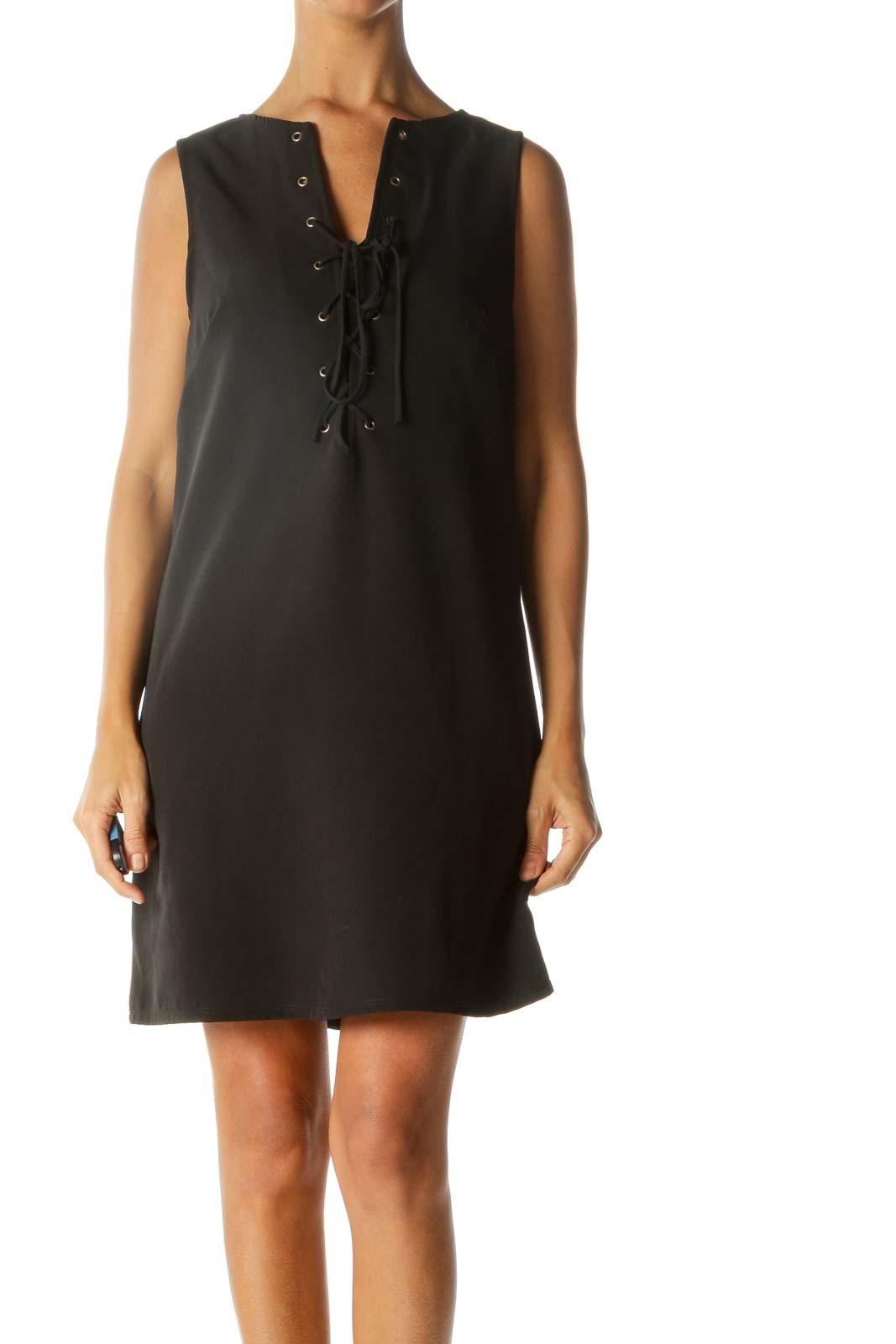 Black Crisscross Front Sleeveless Cocktail Dress Front