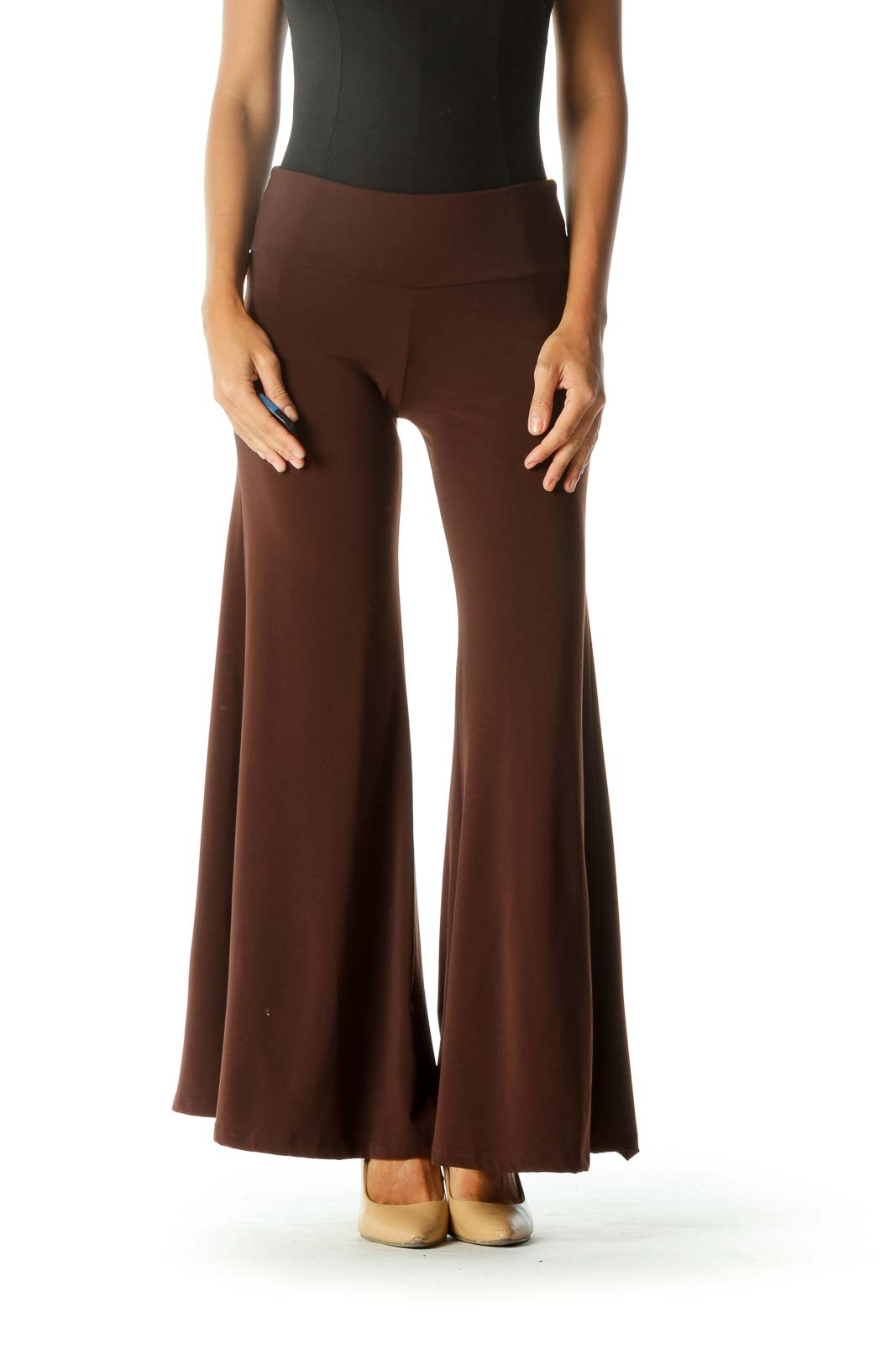 Brown Wide-Leg Cropped Pant Front