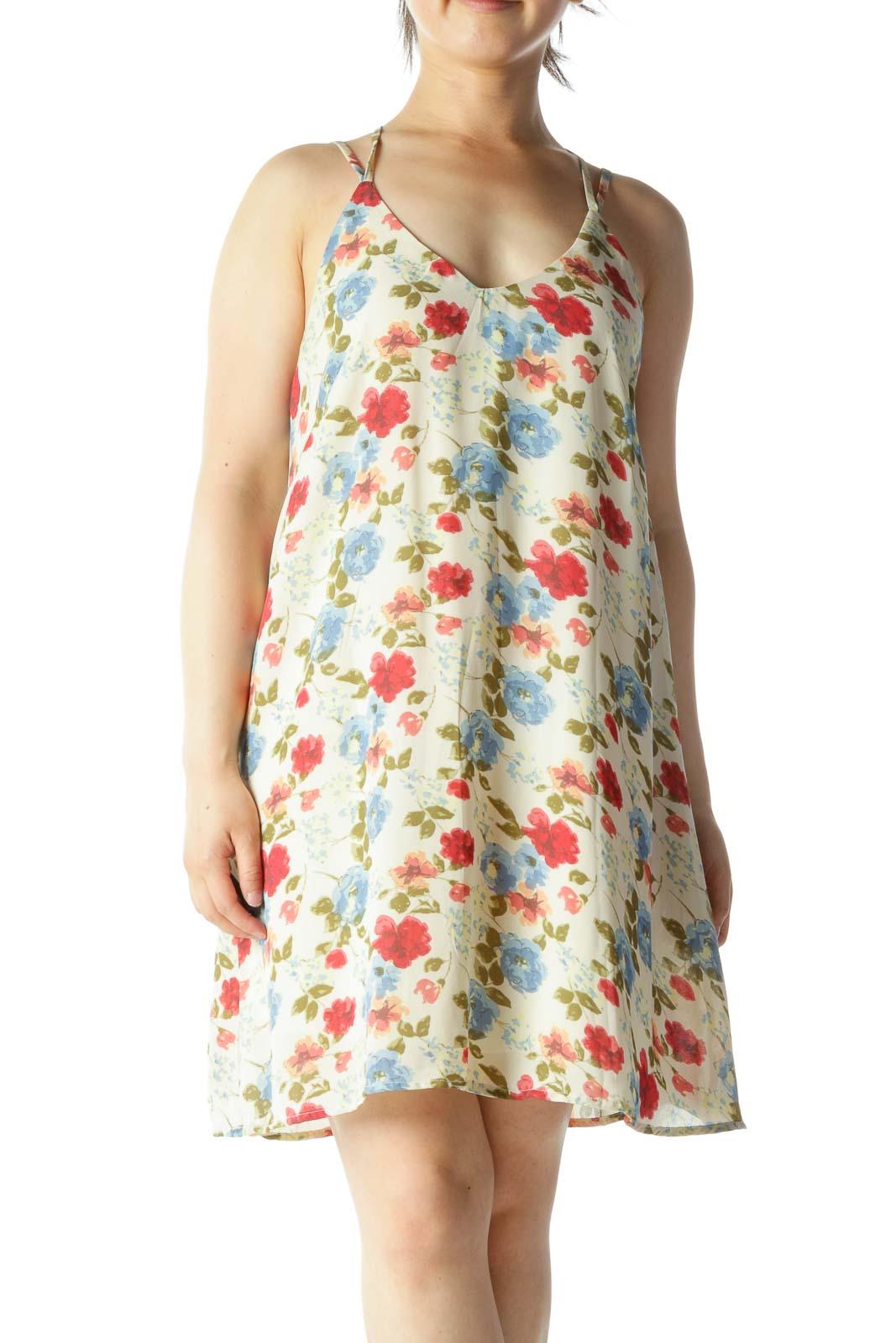 Blue Beige Red Floral-Print V-Neck Spaghetti Strap Day Dress Front