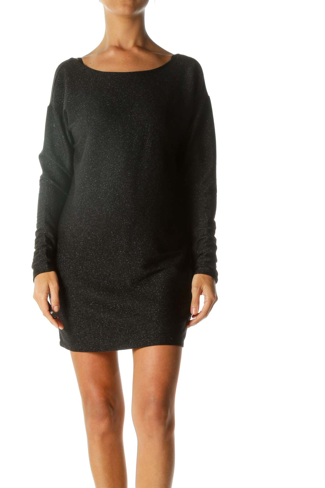 Black Shiny Metallic Back Scoop Long Sleeve Textured Cocktail Dress Front
