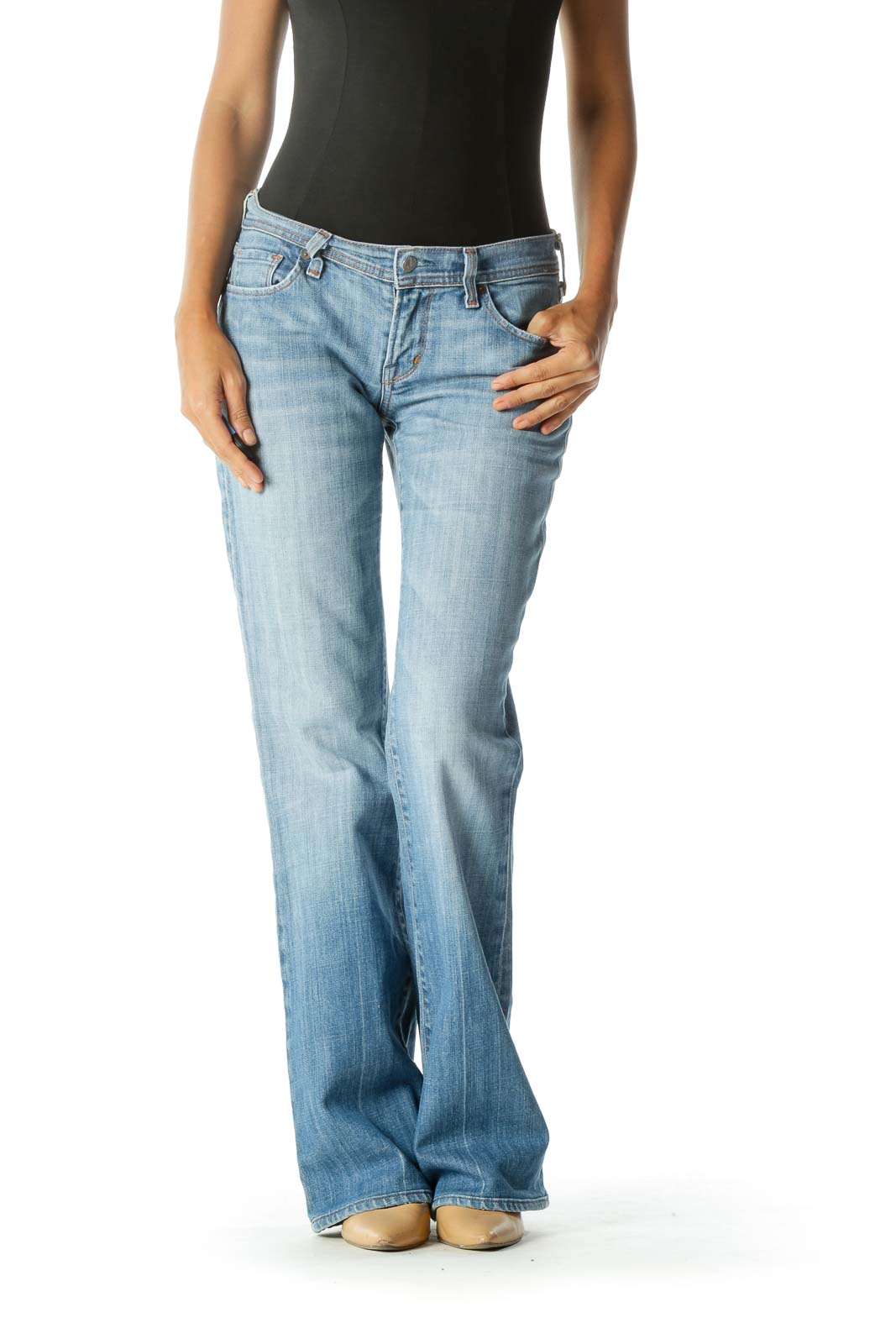 Light Blue Flared Jean Front