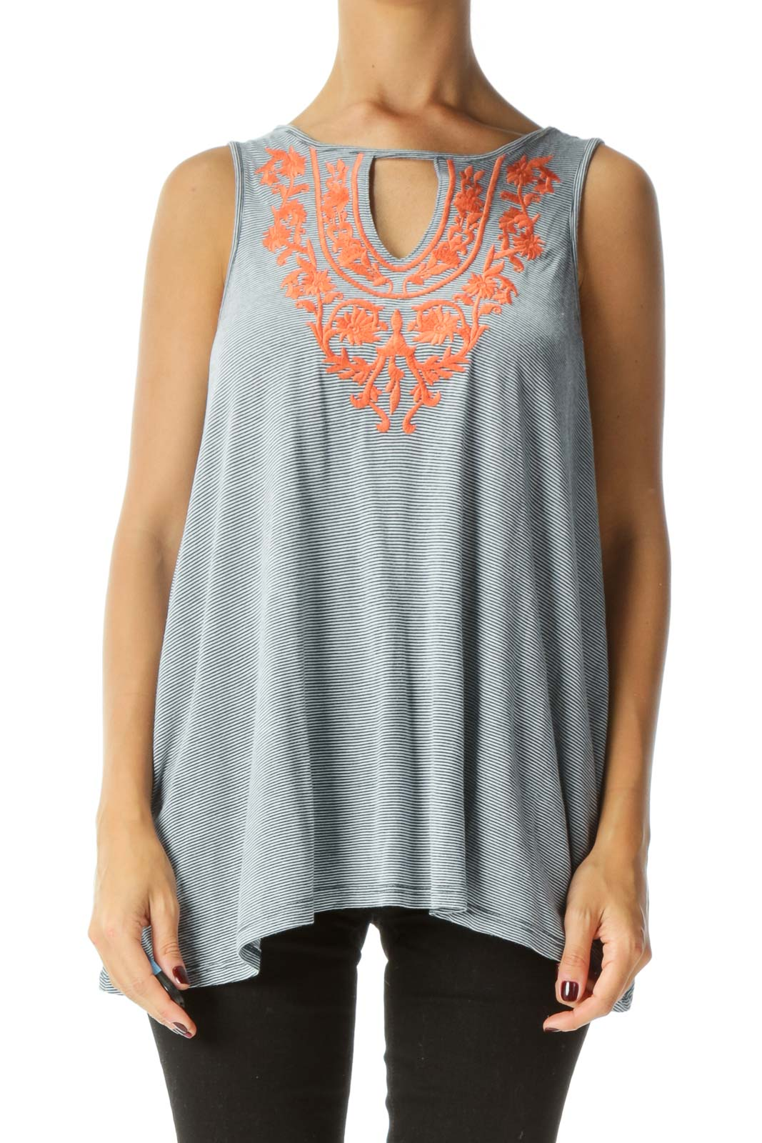 Blue White Orange Embroidery Keyhole Jersey Knit Tank Top Front