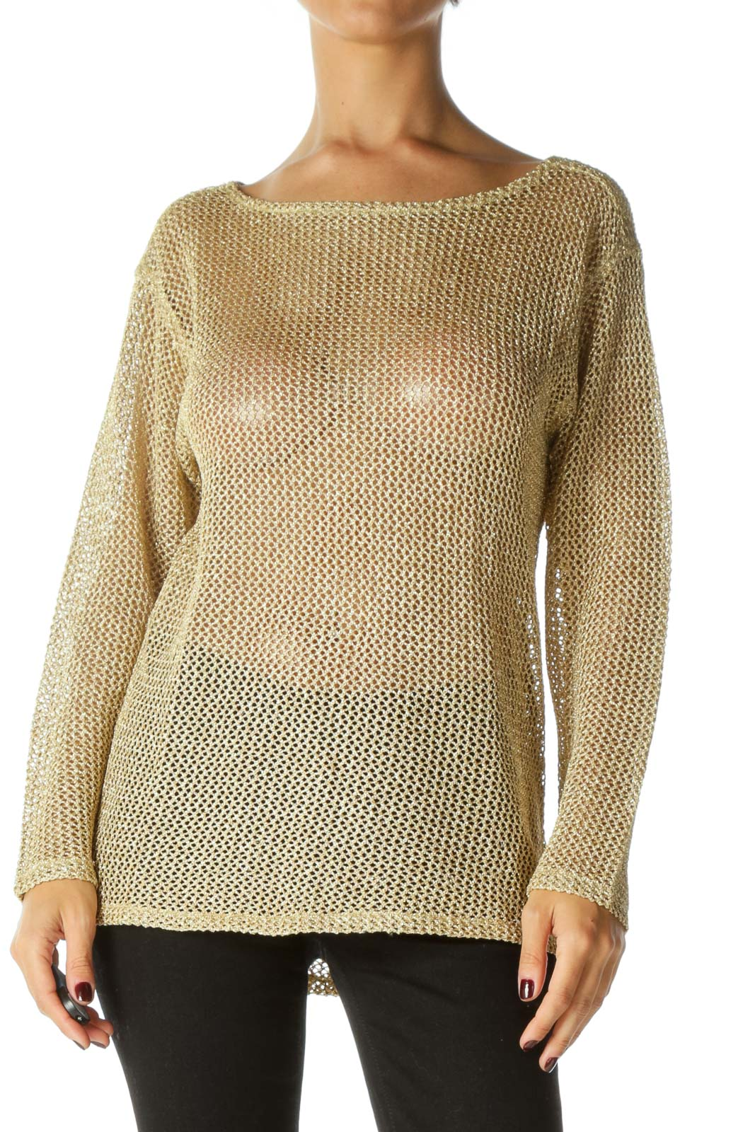 Gold Round Neck 3/4 Sleeve See Through Knit Top Front