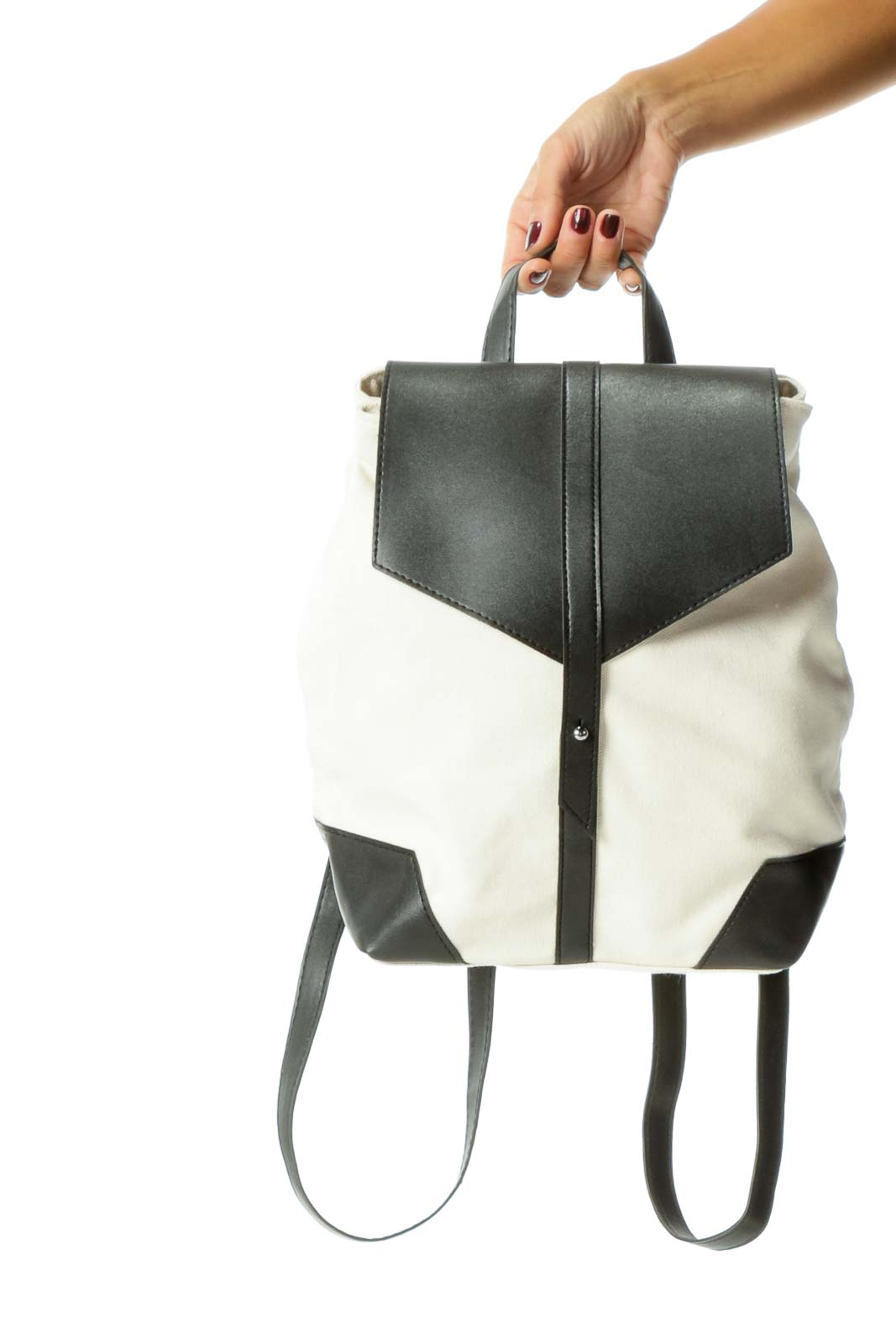 Cream Black Vegan Leather and Knit Material Backpack Front