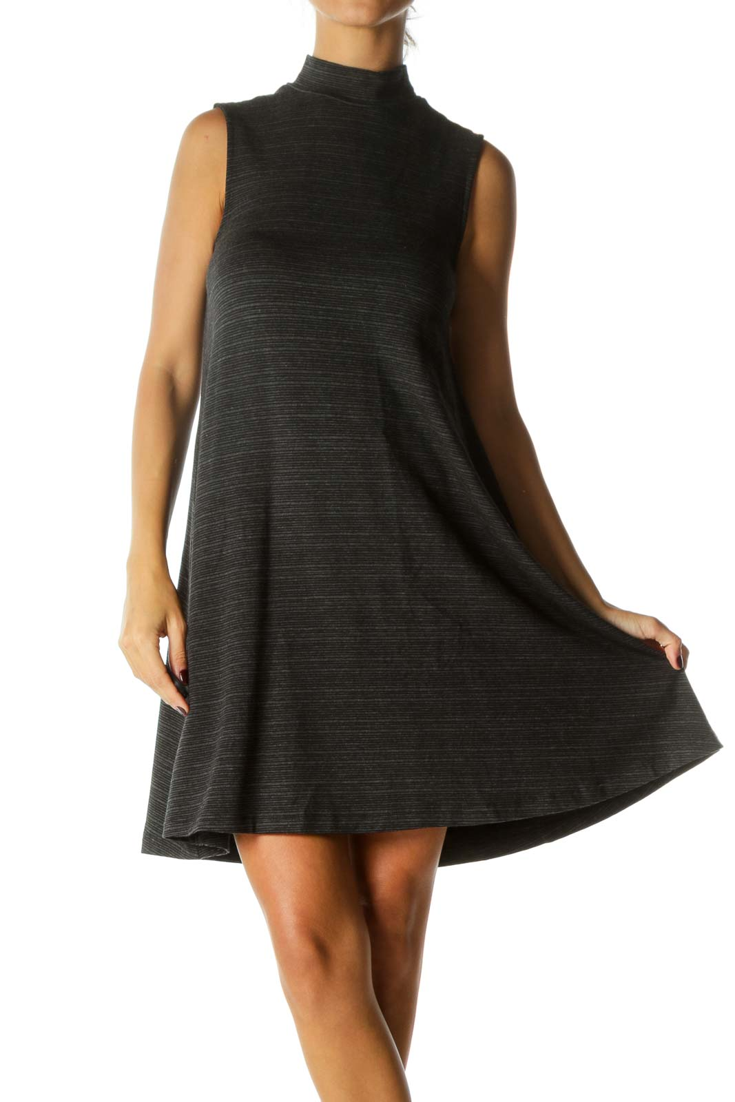 Black Gray Striped High Neck Sleeveless Flared Stretch Dress Front