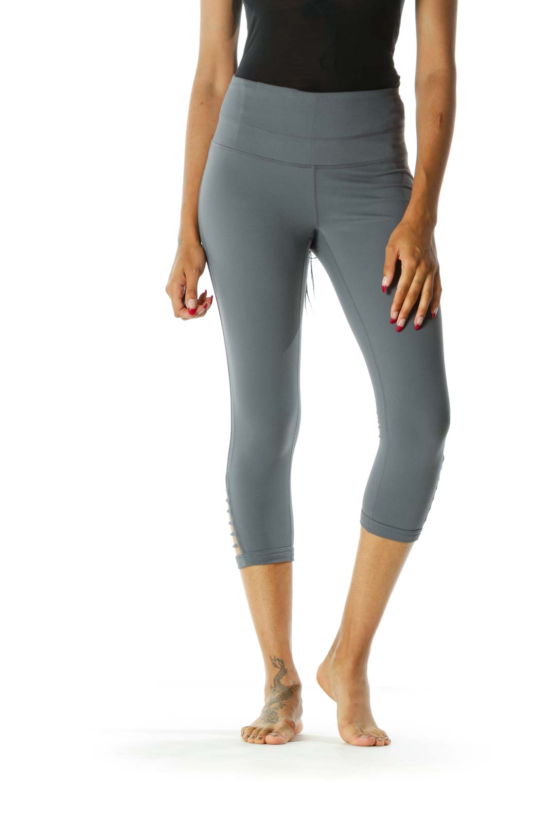 Gray Side-Detailed Cropped Legging Front