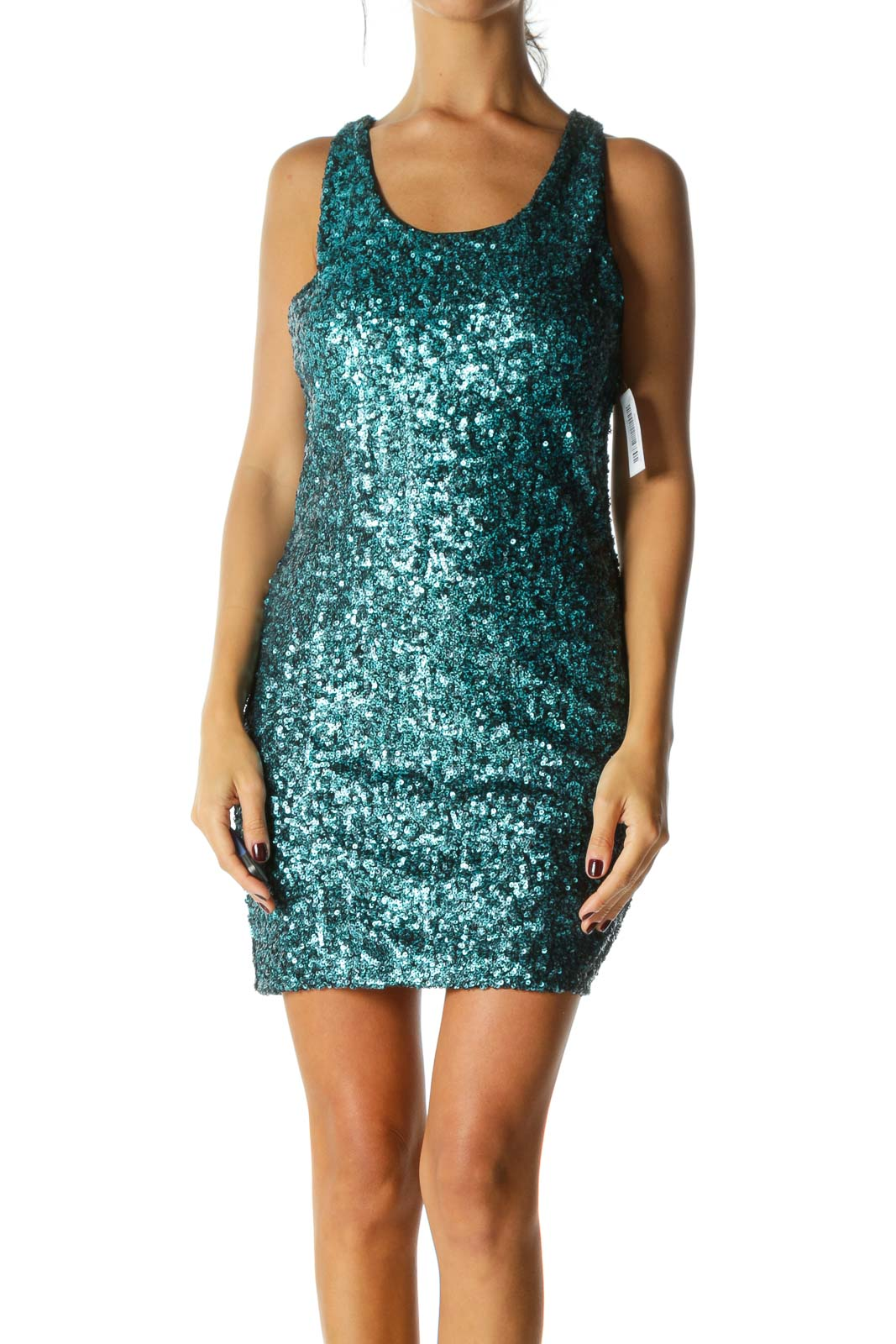 Blue Black Shiny Sequined Body Round Neck Cocktail Dress Front