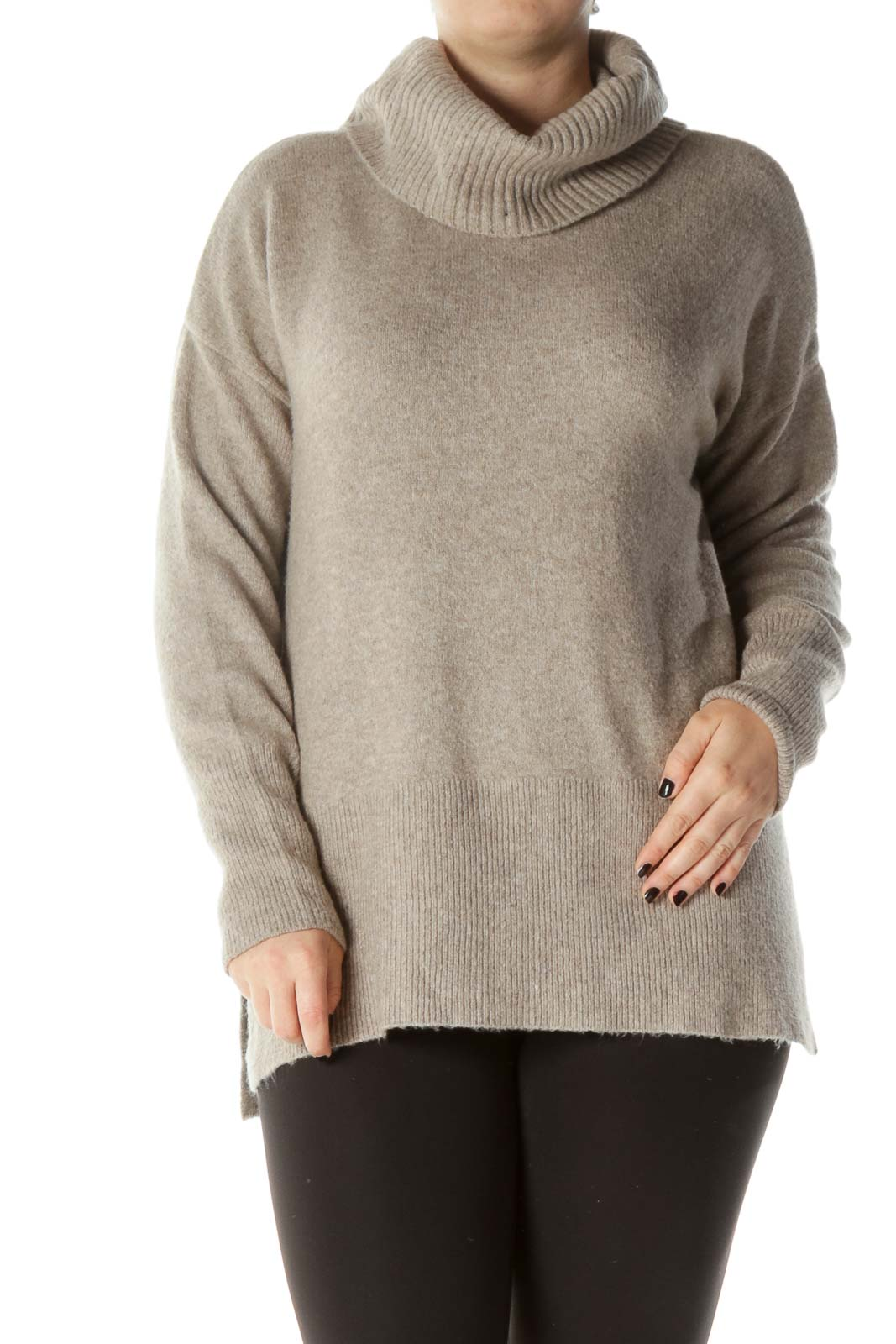 Beige Cowl Neck Cable Knit Sweater Front