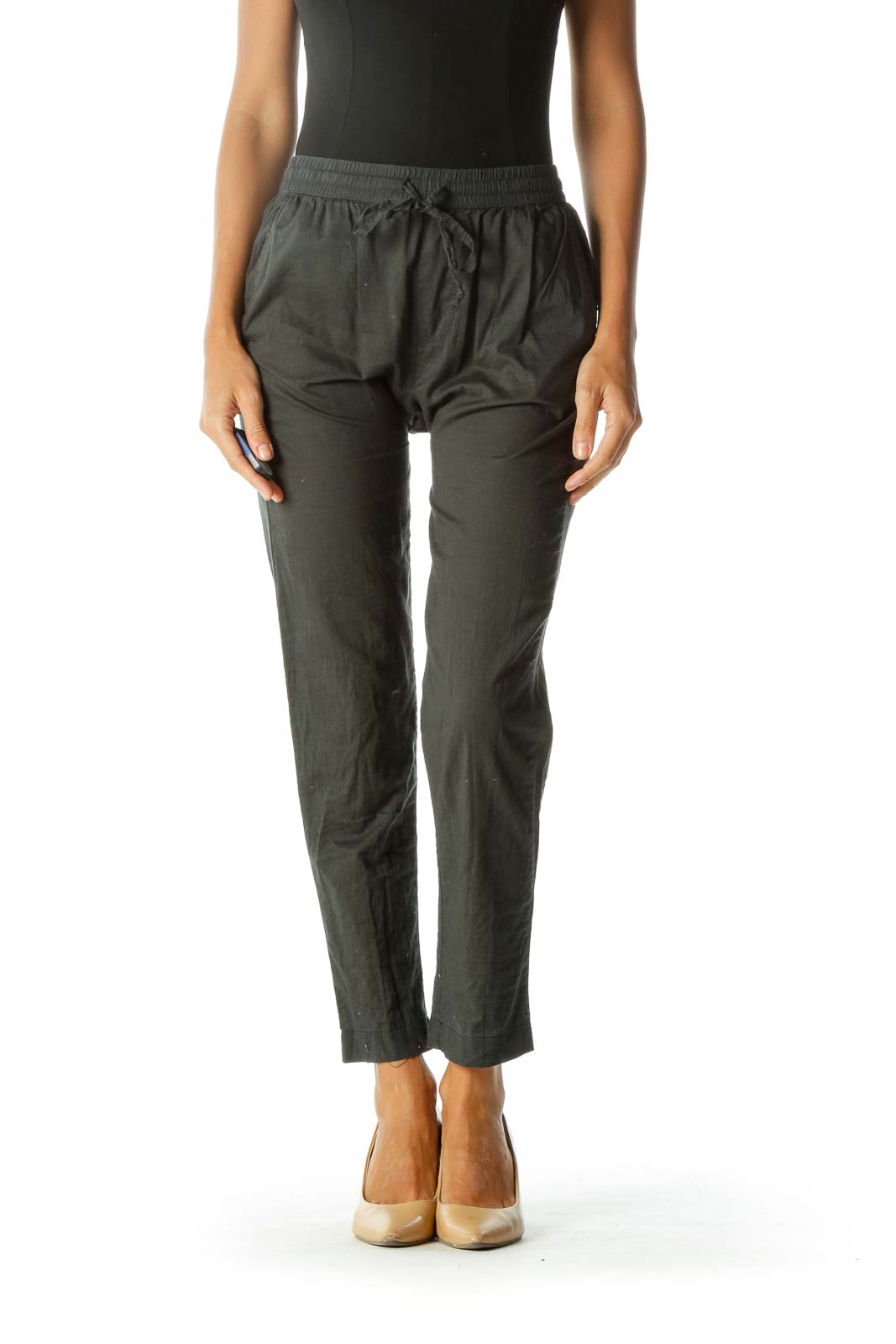 Gray Cotton Casual Pant Front