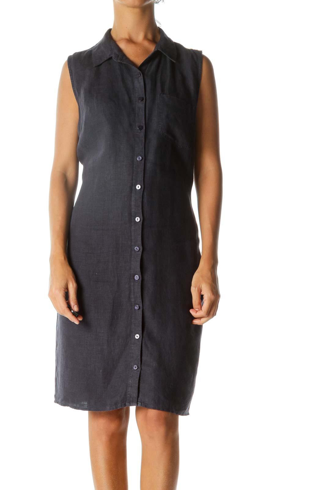 Navy Linen Sleeveless Buttoned Shirt Dress Front