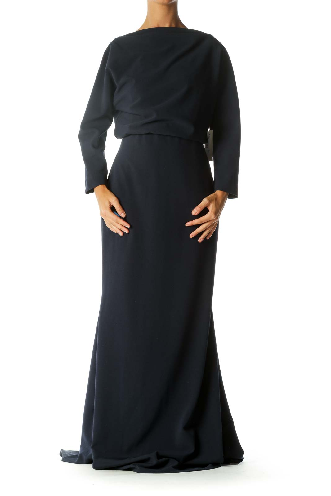 Navy Square Neck Gown Front