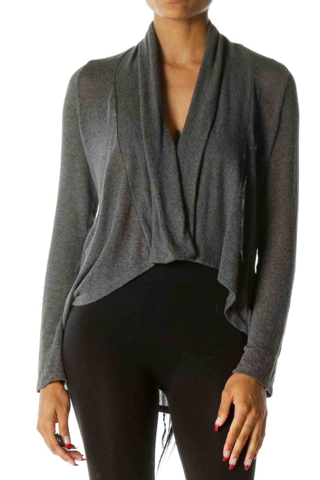 Gray Long Sleeve Stretch Knit Open Cardigan Front