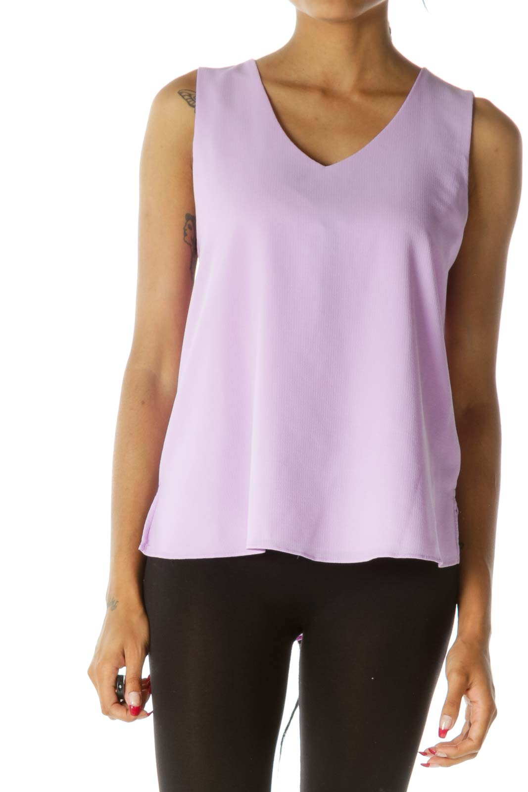 Lilac Purple V-Neck Textured Tank Top Front