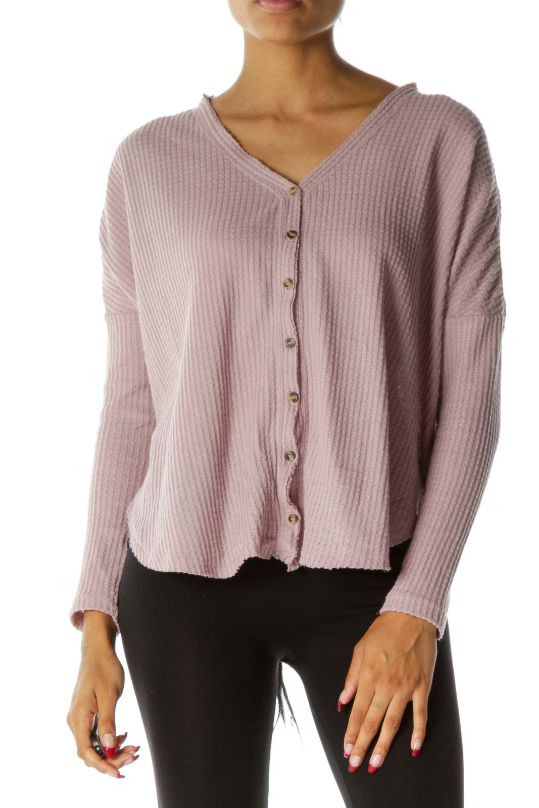 Light Pink Textured Knit Buttoned Long Sleeve Top Front