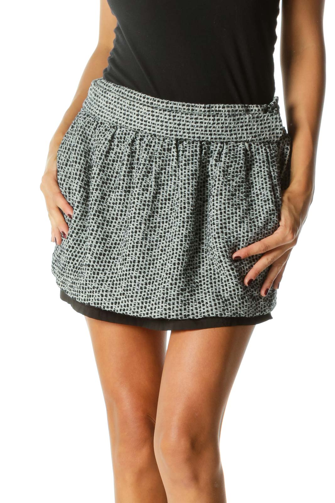 Black Embroidered Double Layered Mini Skirt Front