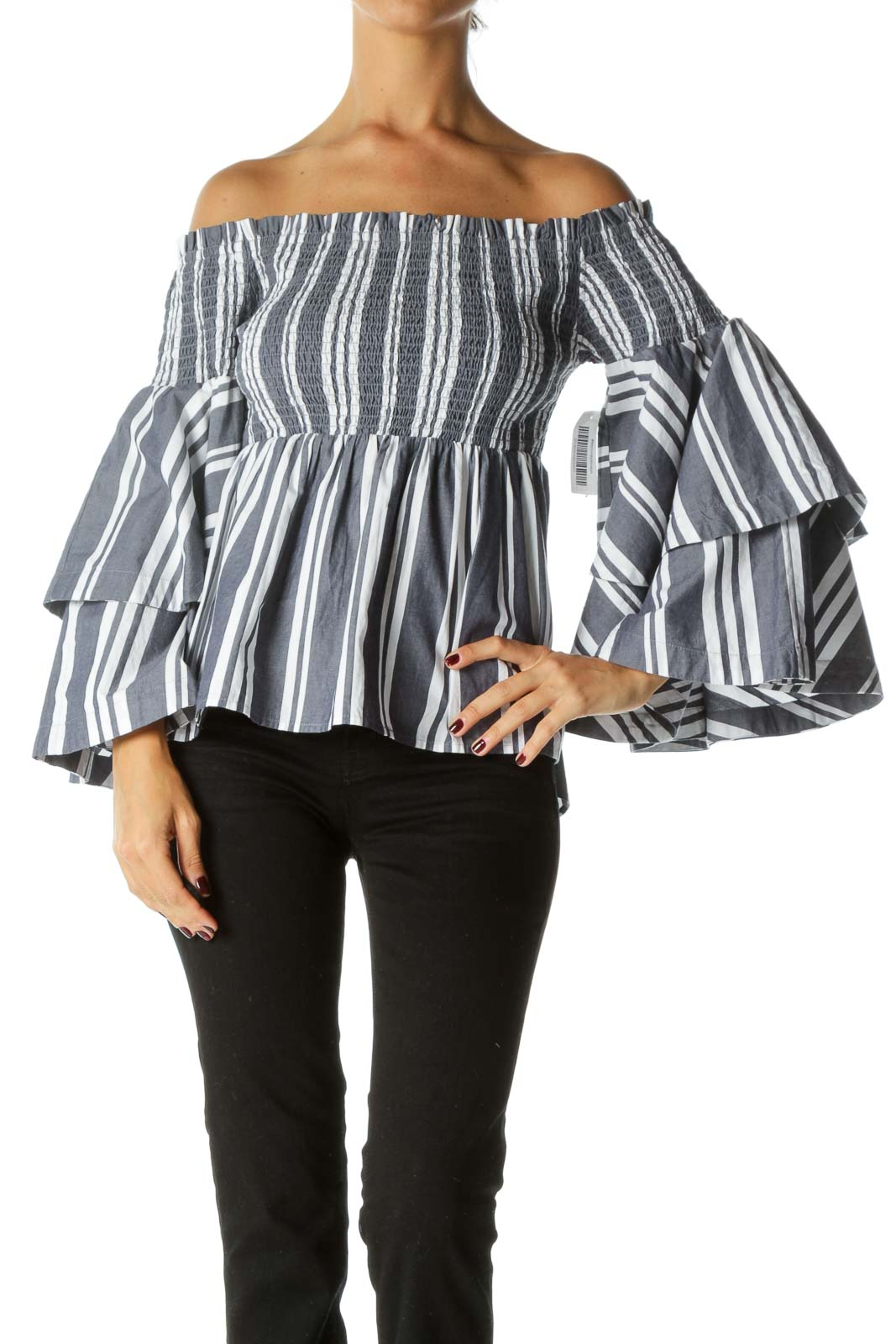 Blue White Striped 100% Cotton Shirring Cold Shoulder Flared Sleeves Top Front