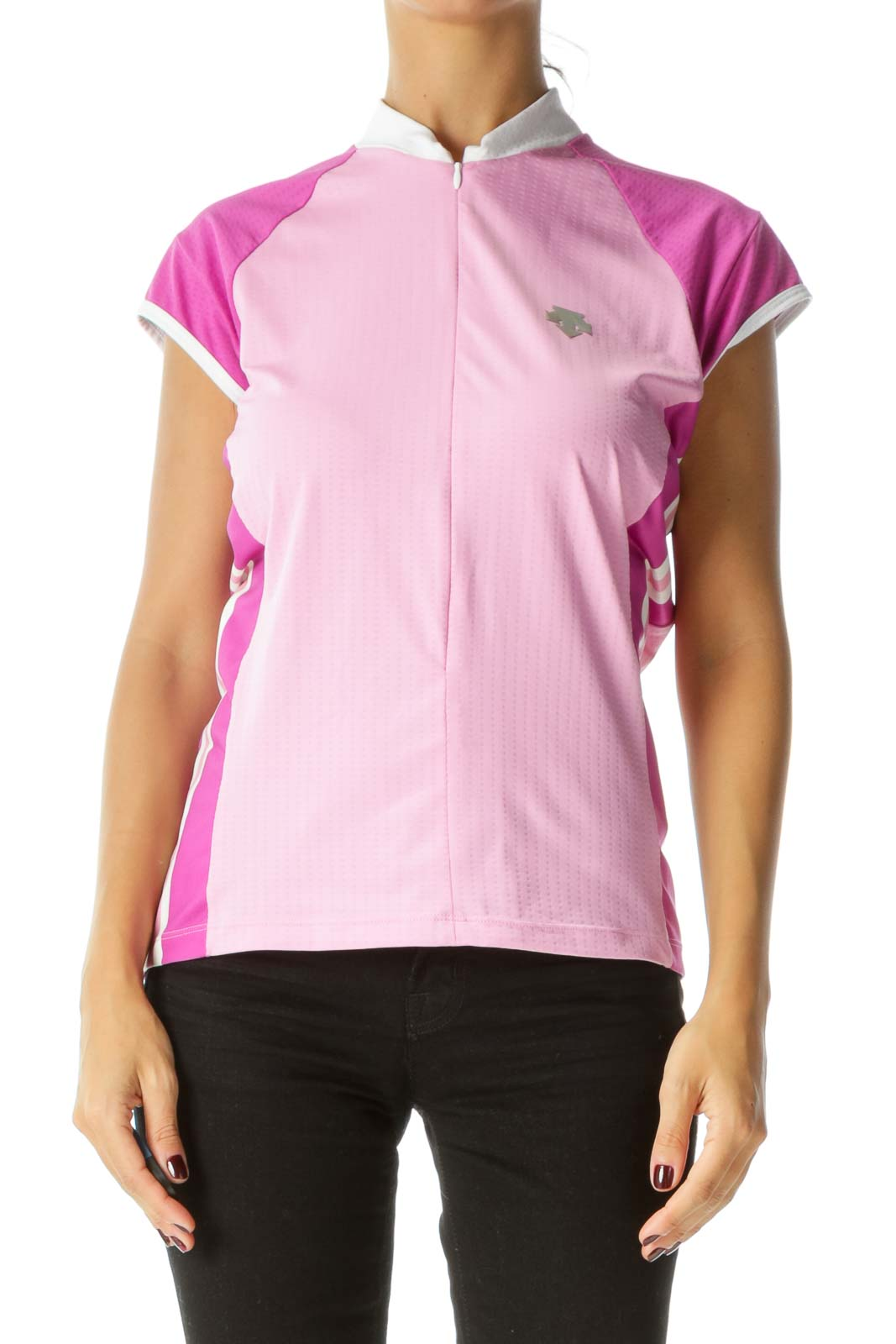 Pink Purple White Zippered Short Sleeve Reflective Logo Applique Sports Top Front