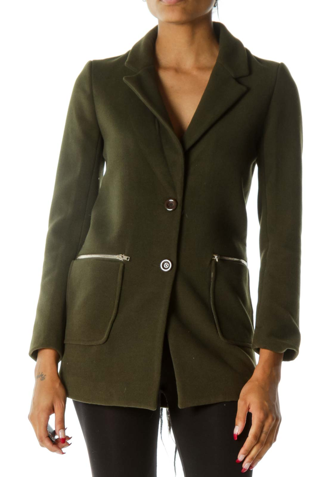 Green V-Neck Zippers Pocketed Buttoned Long Sleeve Coat Front