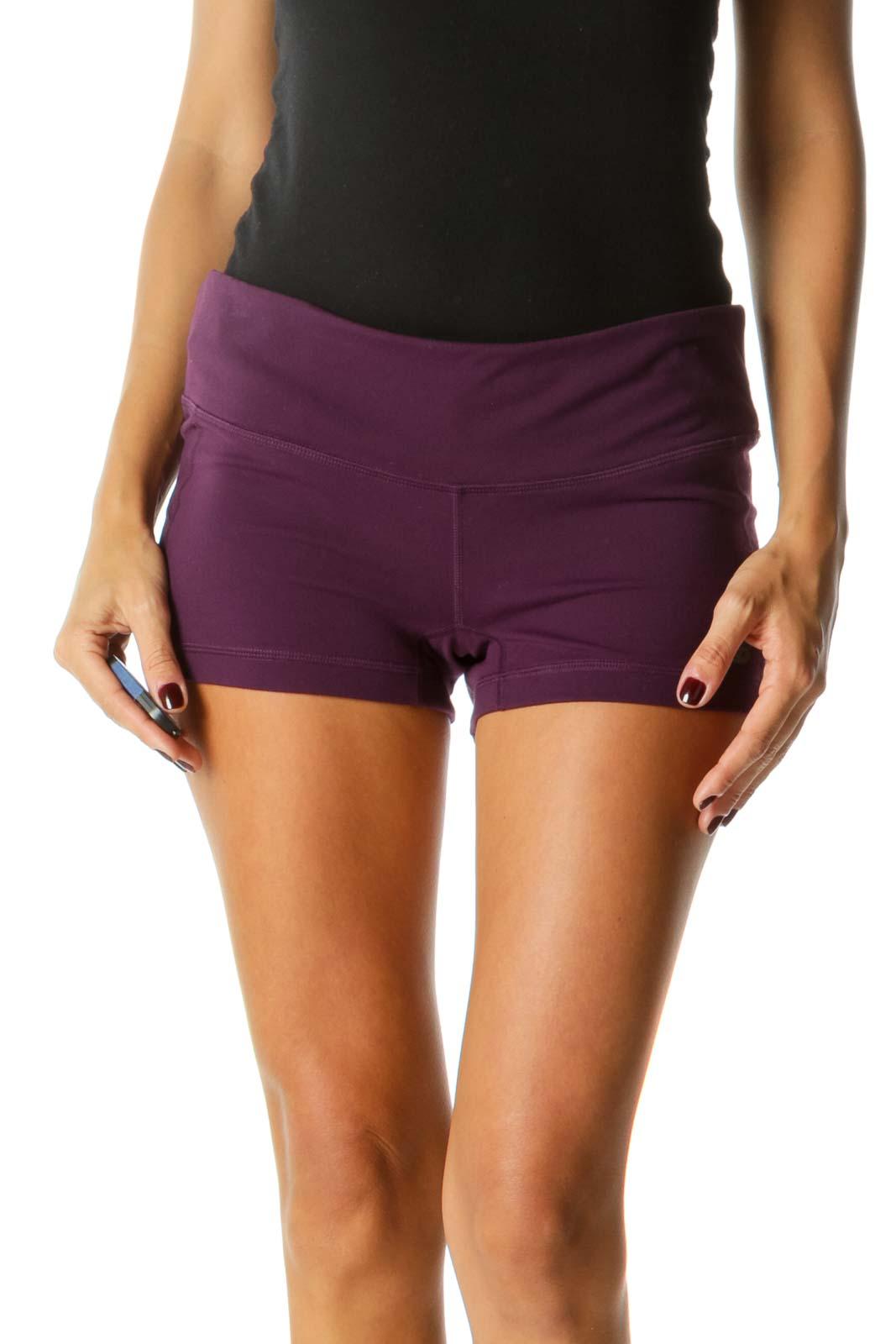 Purple Hidden Waist Pocket Stretch Sports Shorts Front