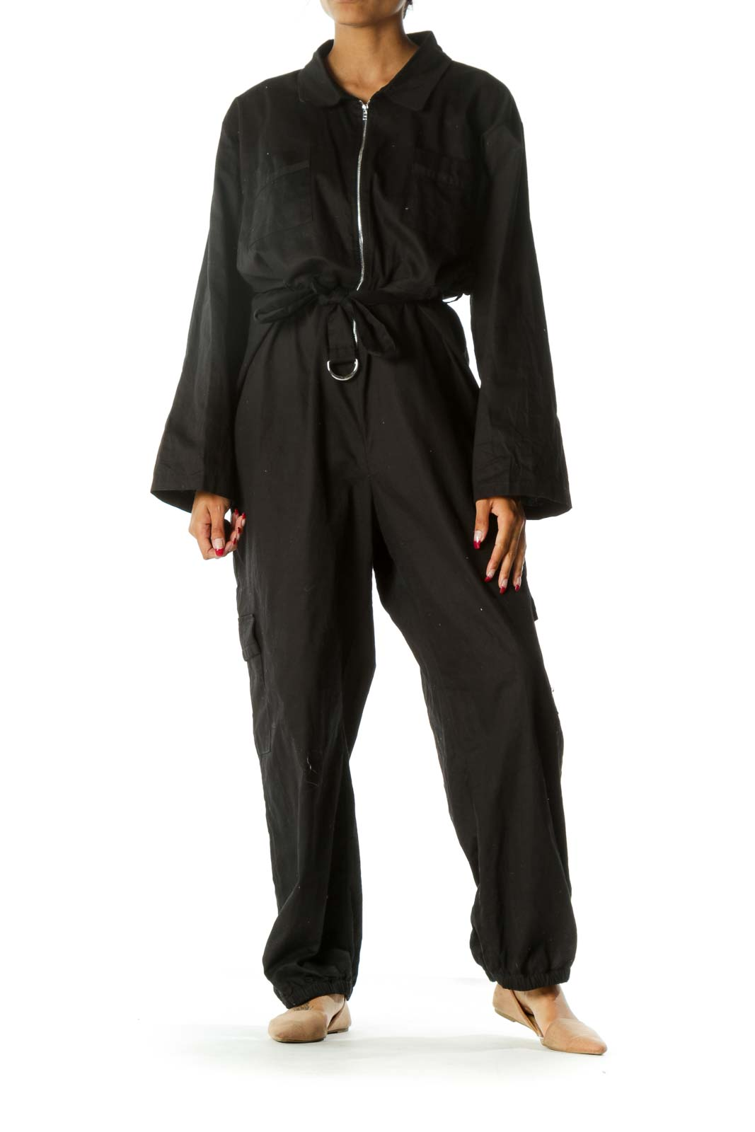 Black Zippered Pocketed Belted Elastic Ankles Jumpsuit Front