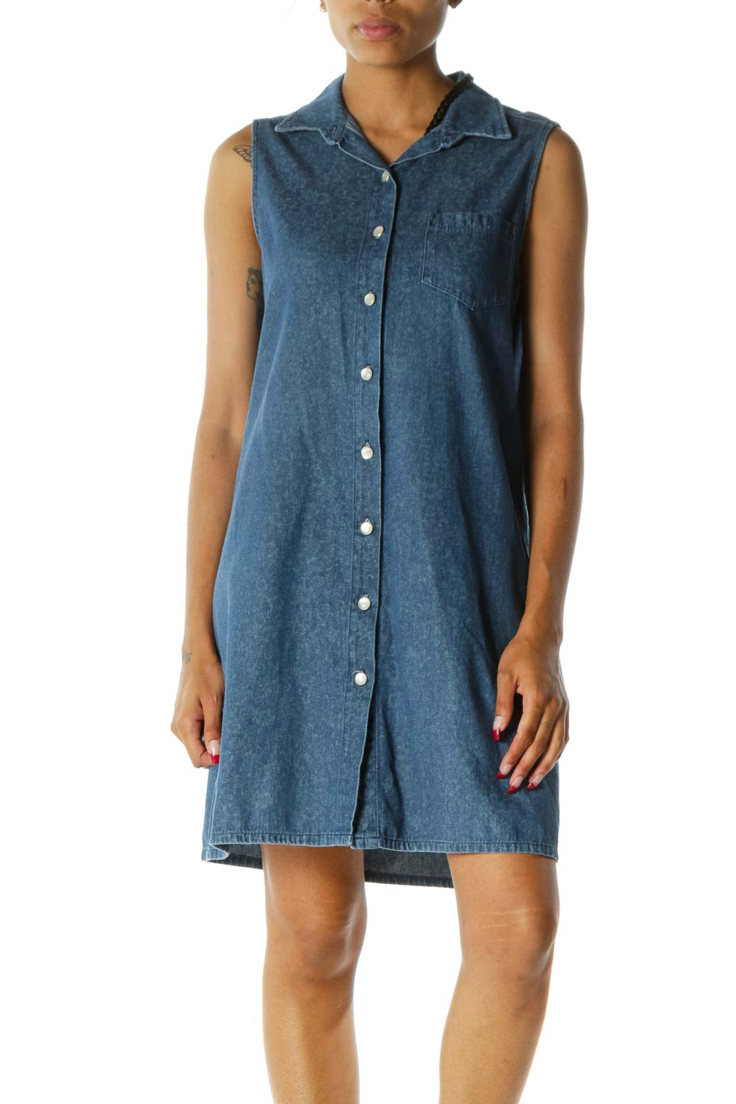Blue Collared Buttoned One-Pocket Sleeveless Denim Dress Front
