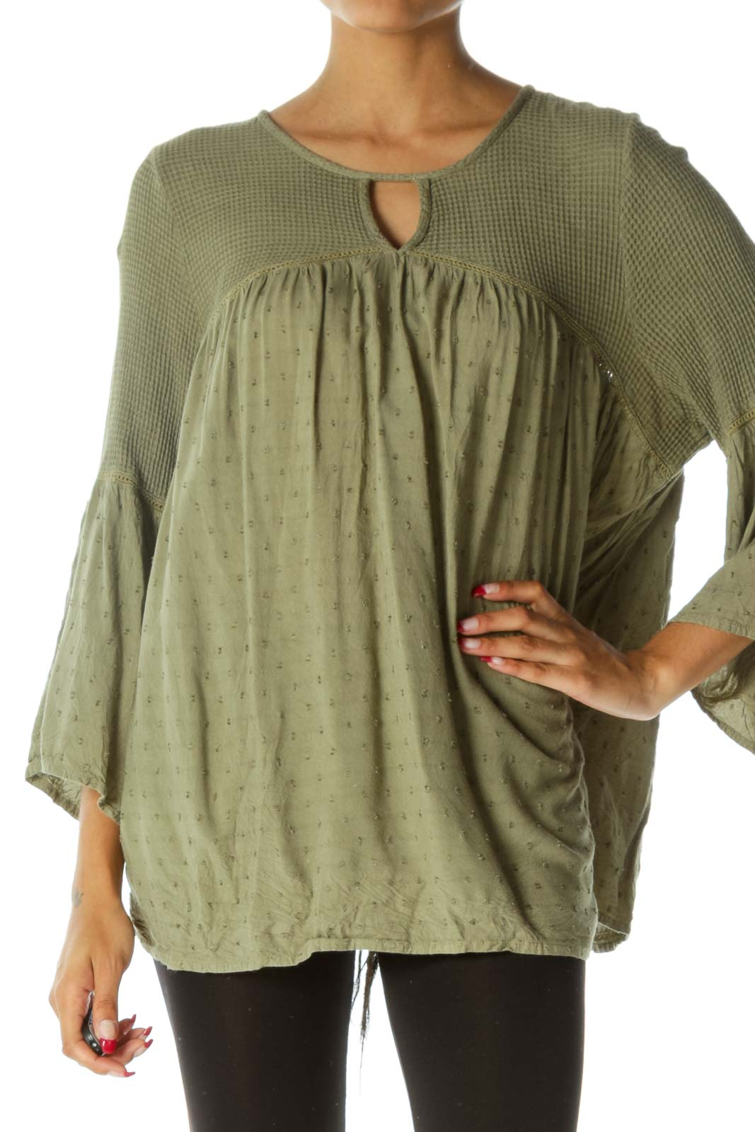 Green Keyhole Waffle-Knit Textured Flared Top Front