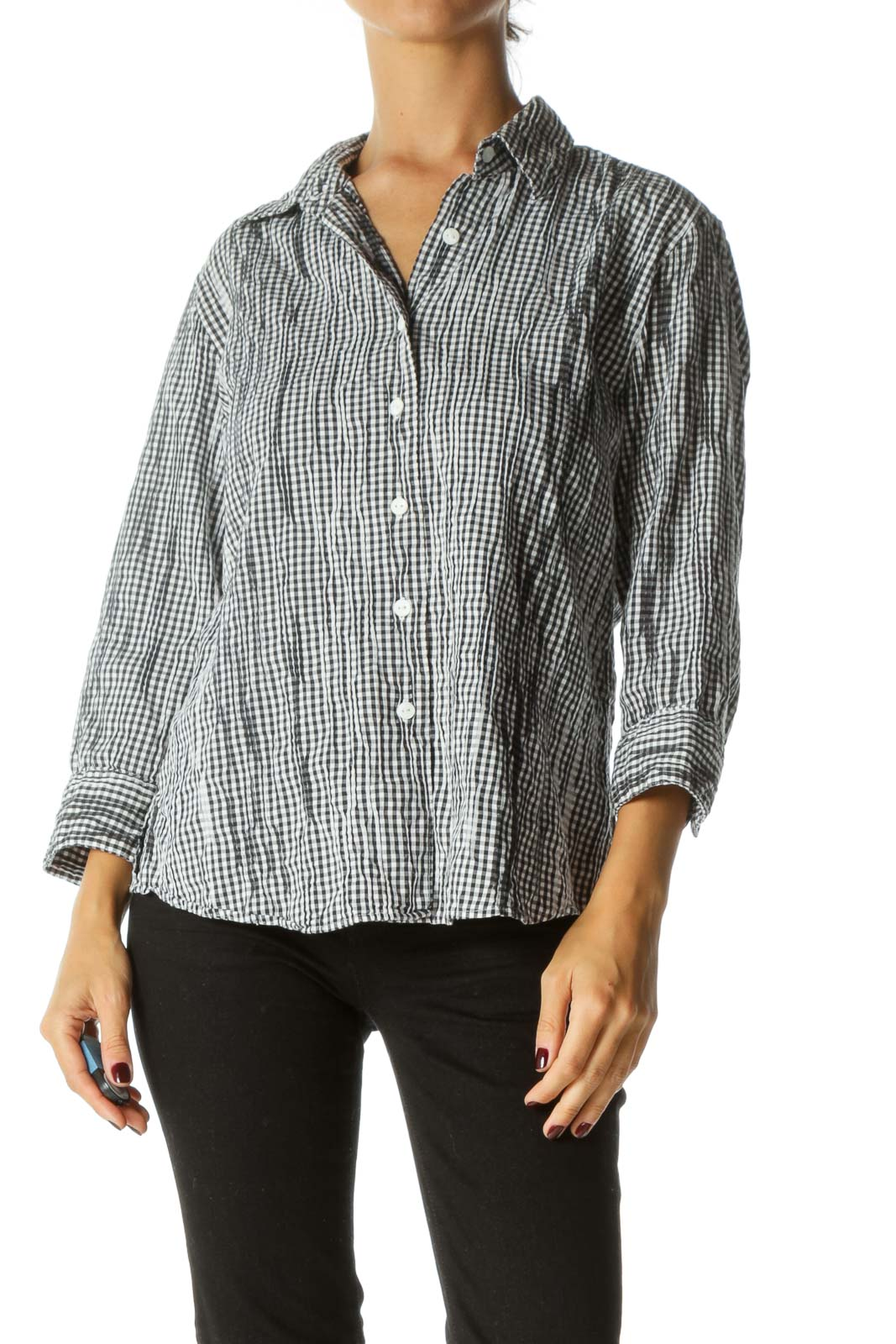 Black White Textured Checkered Print Buttoned Shirt Front