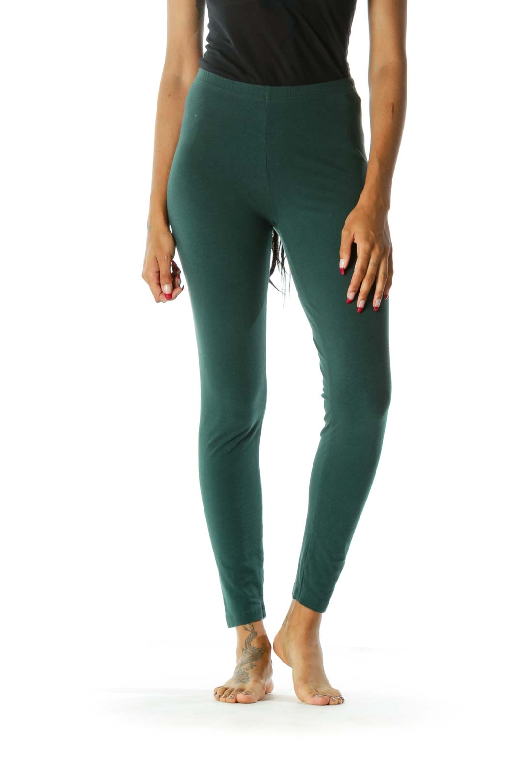 Green High-Waisted Skinny Leggings Front