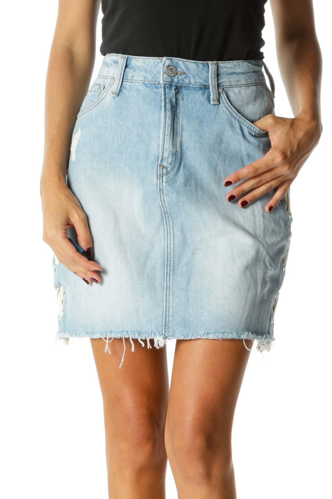 Light Blue Denim Skirt w/ White Ribbon Criss-Cross & Hardware Detail Front