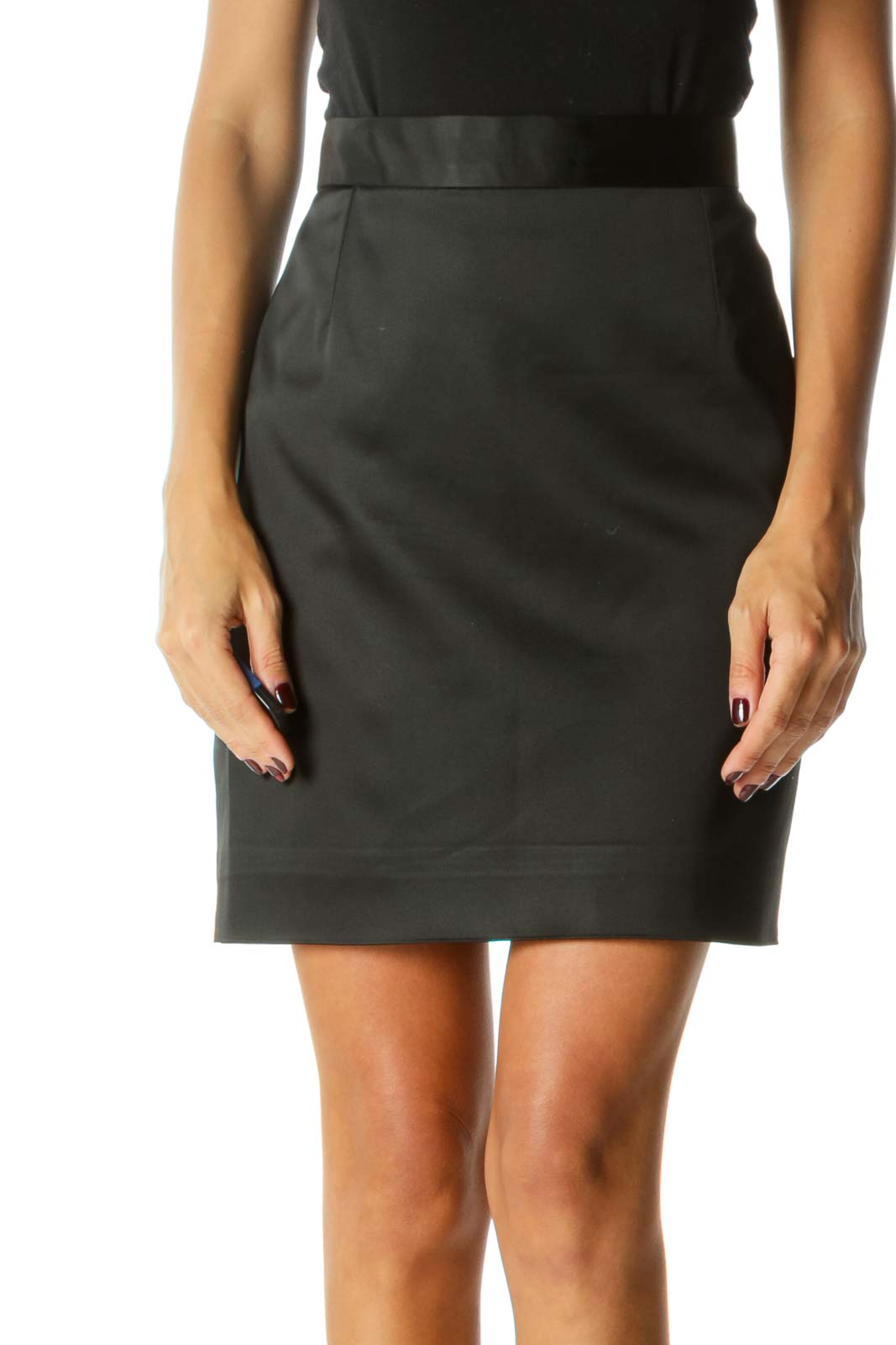 Black A-Line Zippered Mini Skirt Front