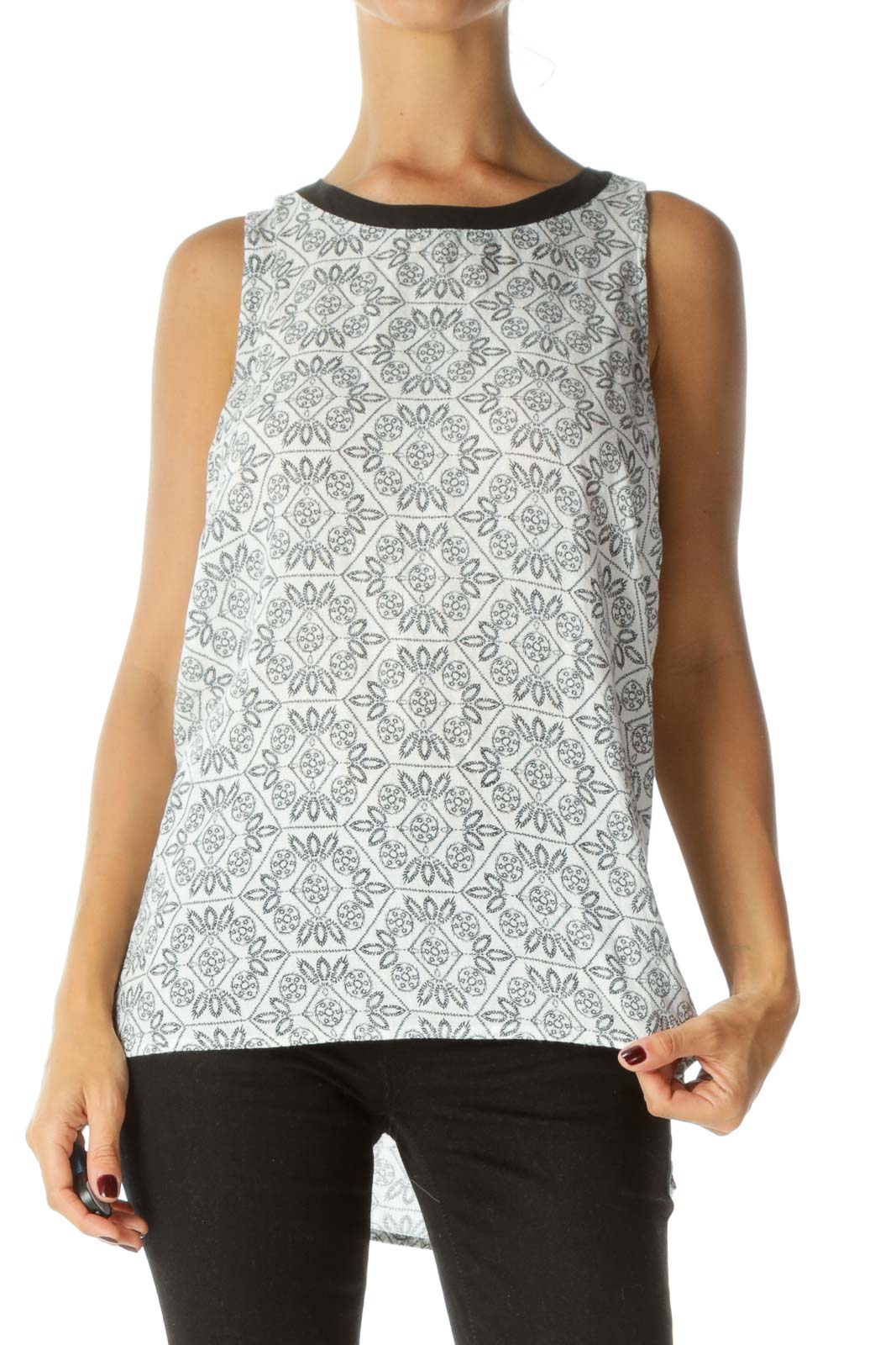Black White Knit Texture Back Knot Tank Top Front