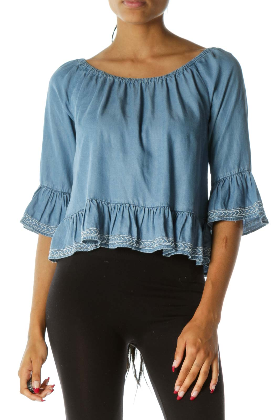 Blue Light Wash 3/4 Sleeves Cold Shoulder Ruffled Flared Top Front